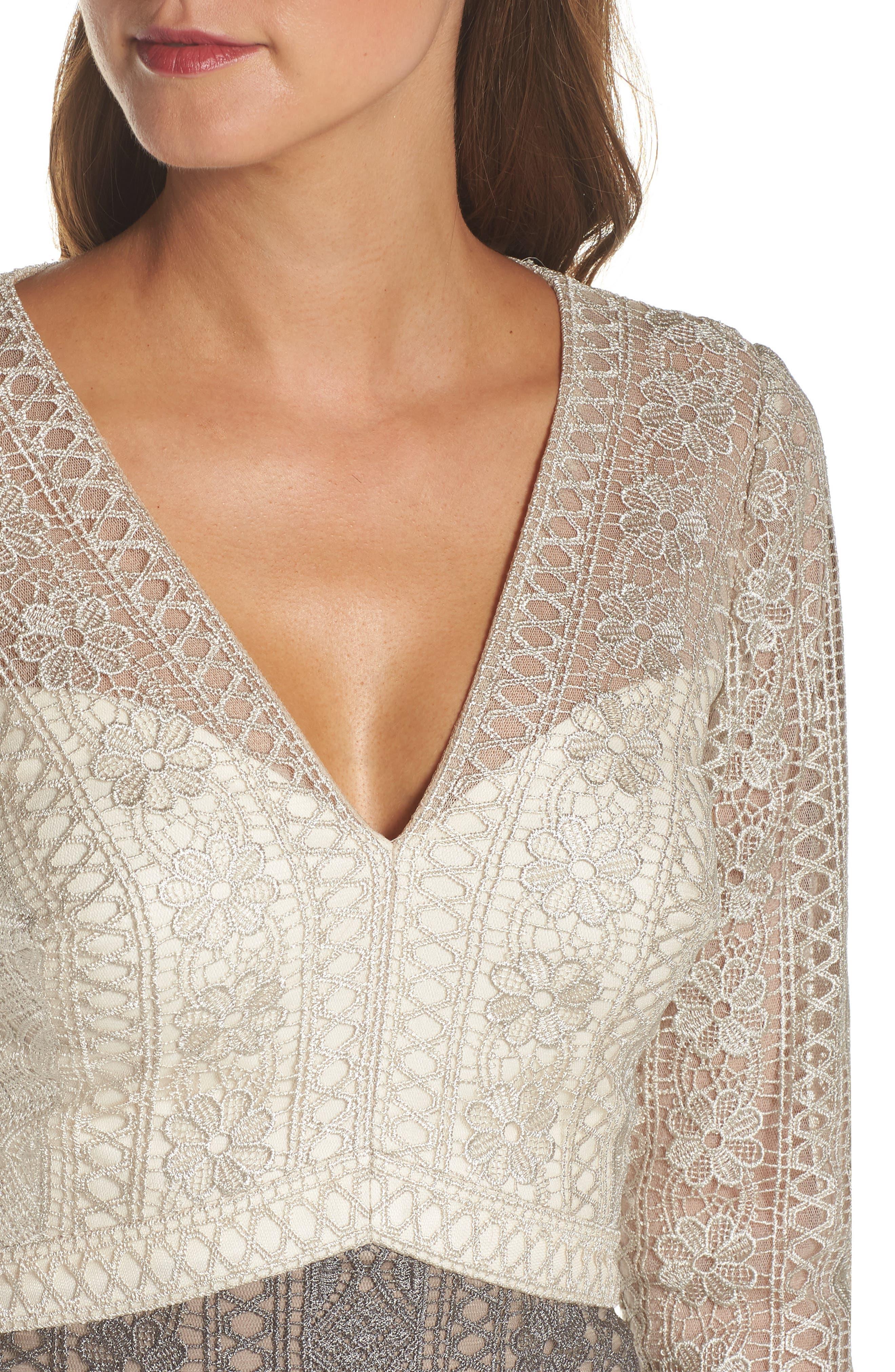 Lace Gown,                             Alternate thumbnail 4, color,                             LATTE/ SMOKE