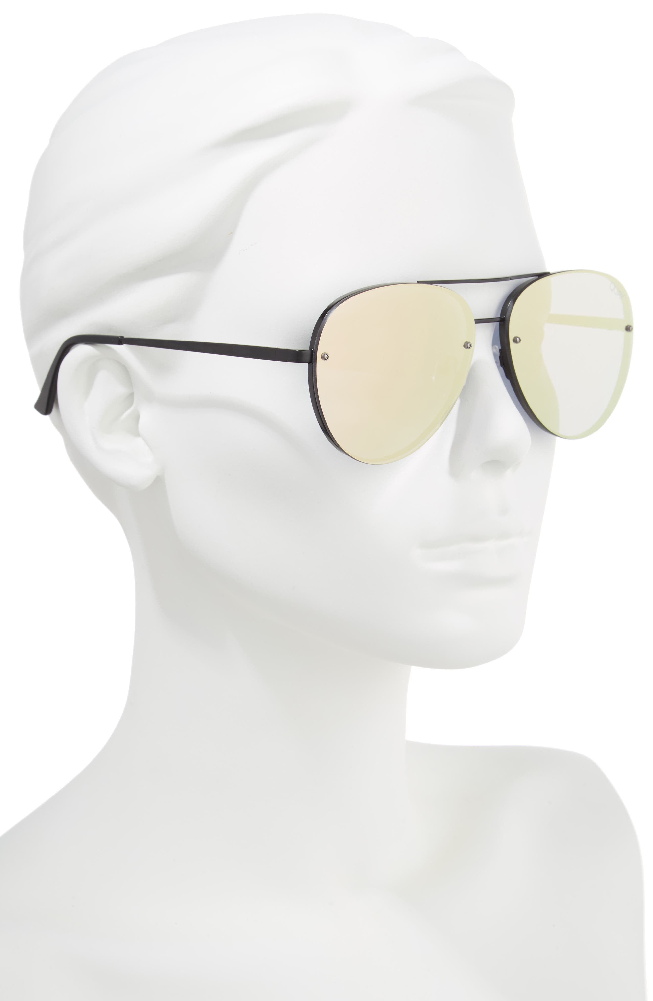 x Missguided Cool Innit 56mm Aviator Sunglasses,                             Alternate thumbnail 2, color,                             001