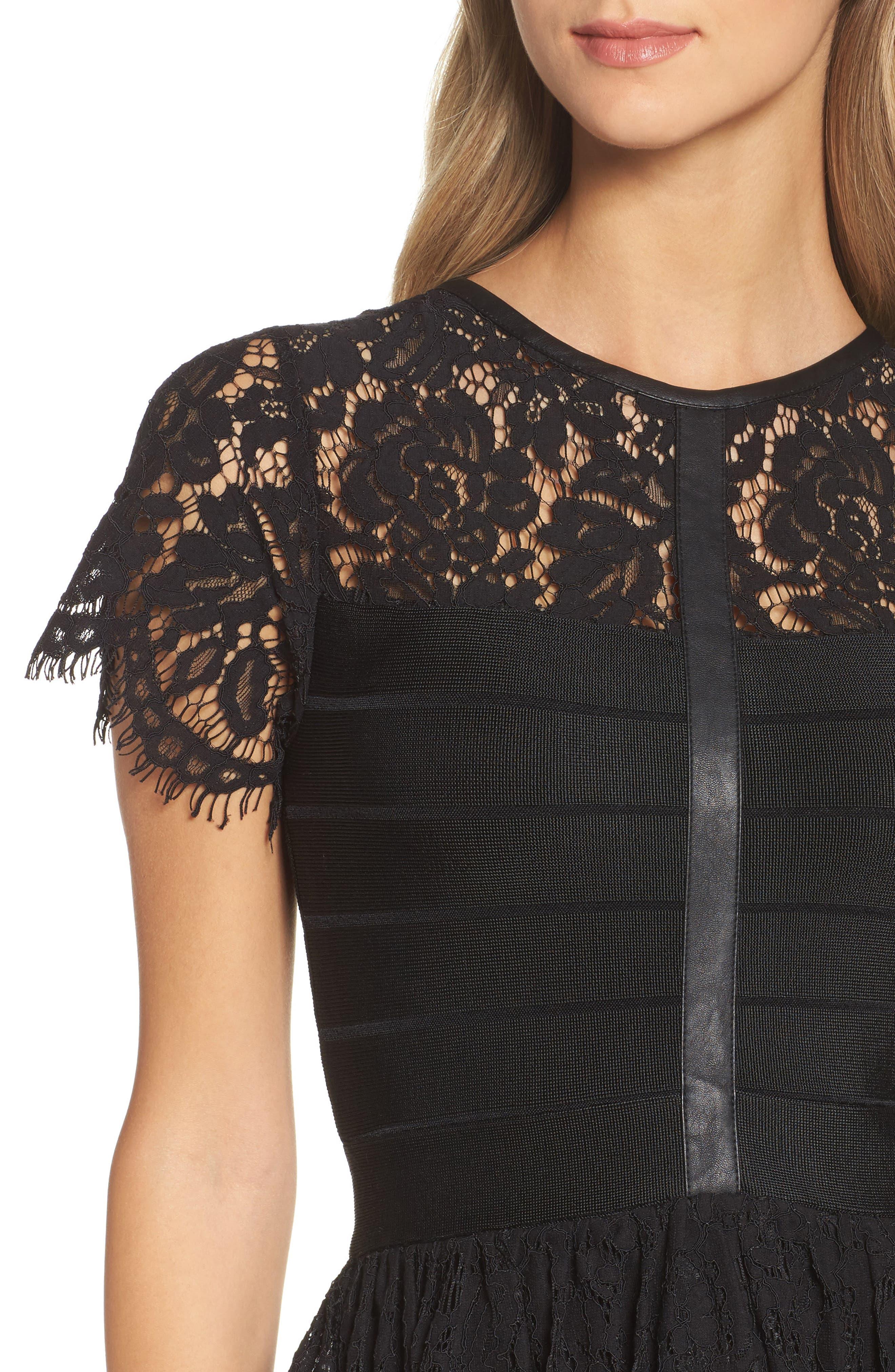 Shana Spotlight Lace Dress,                             Alternate thumbnail 4, color,                             BLACK