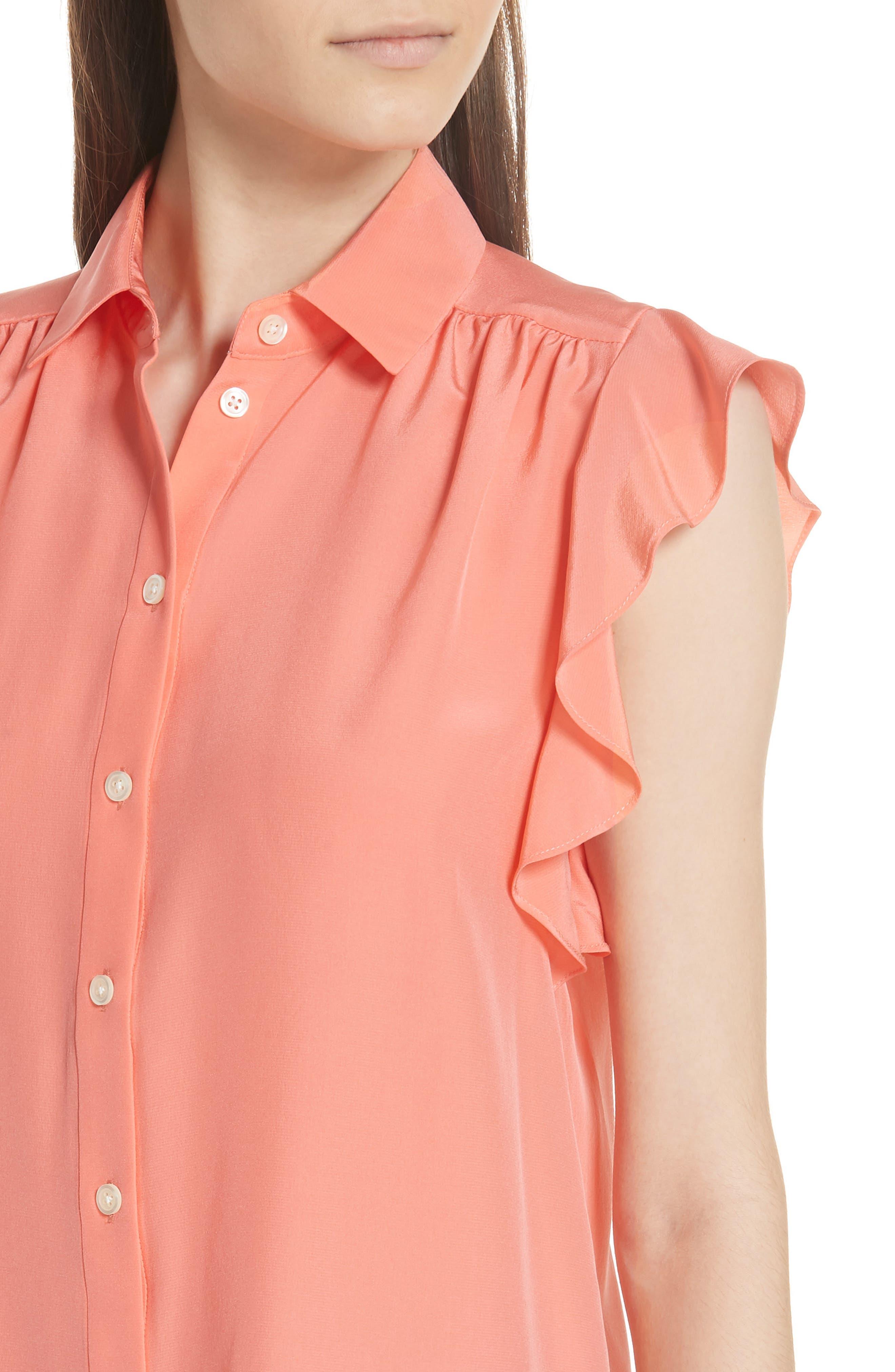 ruffle sleeve silk top,                             Alternate thumbnail 4, color,                             APRICOT SORBET