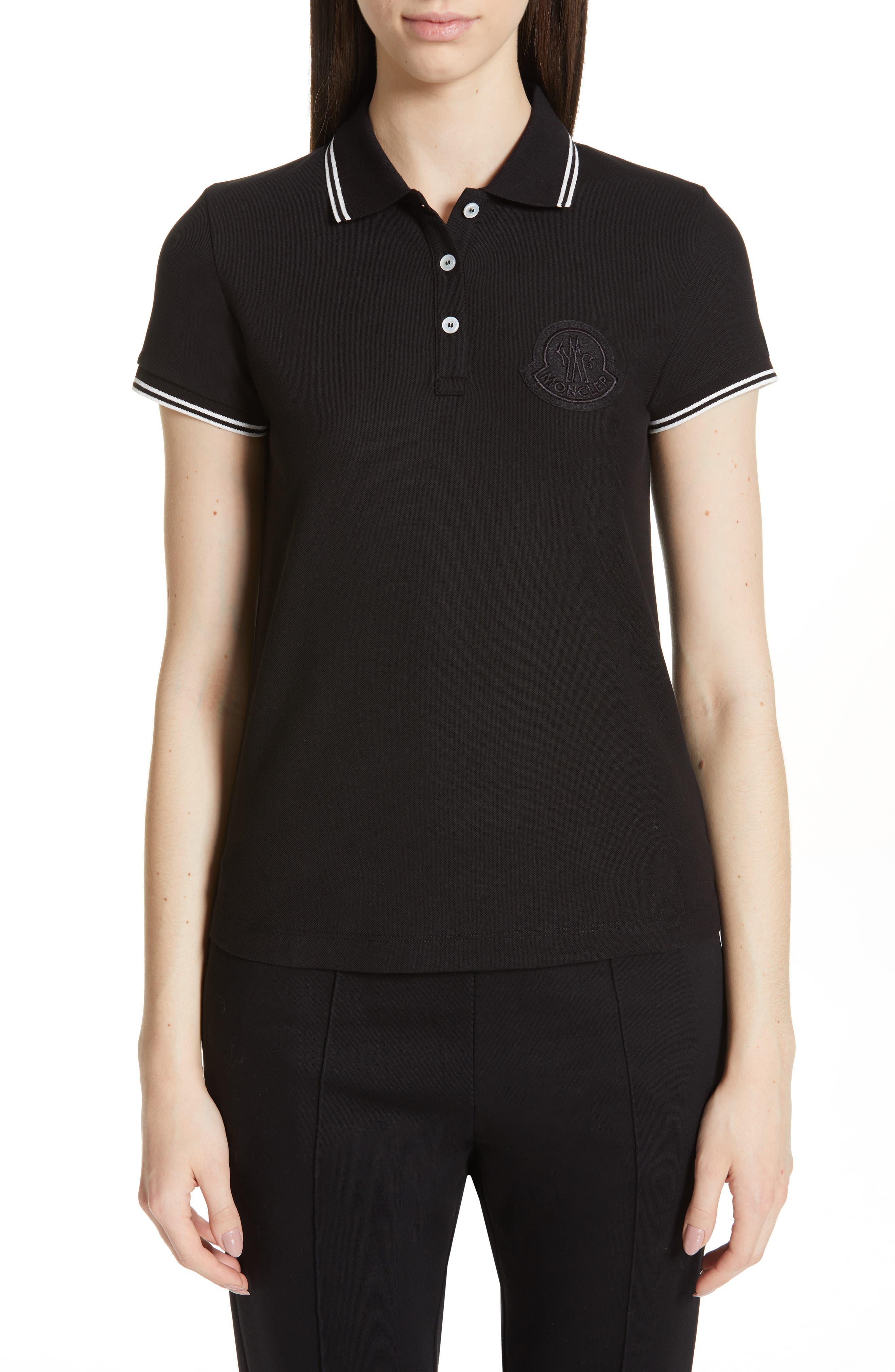 Moncler Pique Cotton Polo, Black