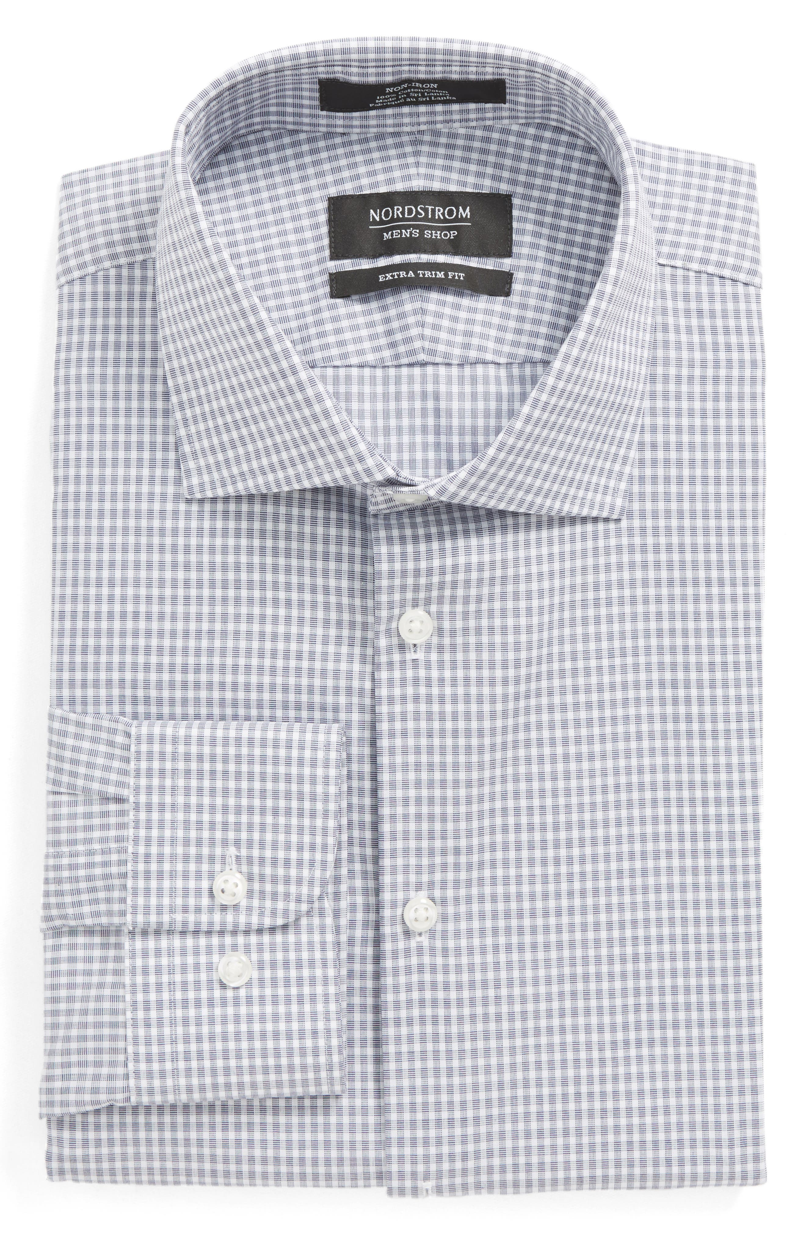 Extra Trim Fit Non-Iron Check Dress Shirt,                             Alternate thumbnail 13, color,