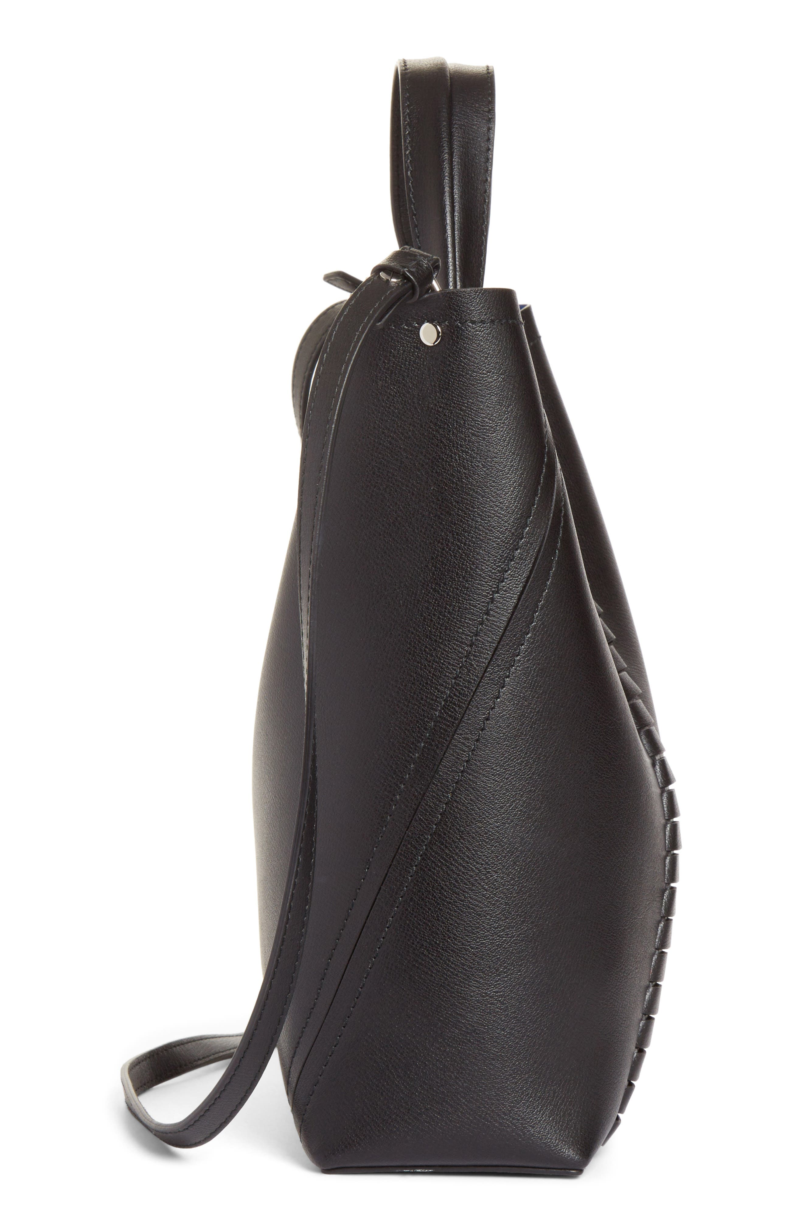Mini Hex Whipstitch Calfskin Leather Tote,                             Alternate thumbnail 4, color,                             BLACK