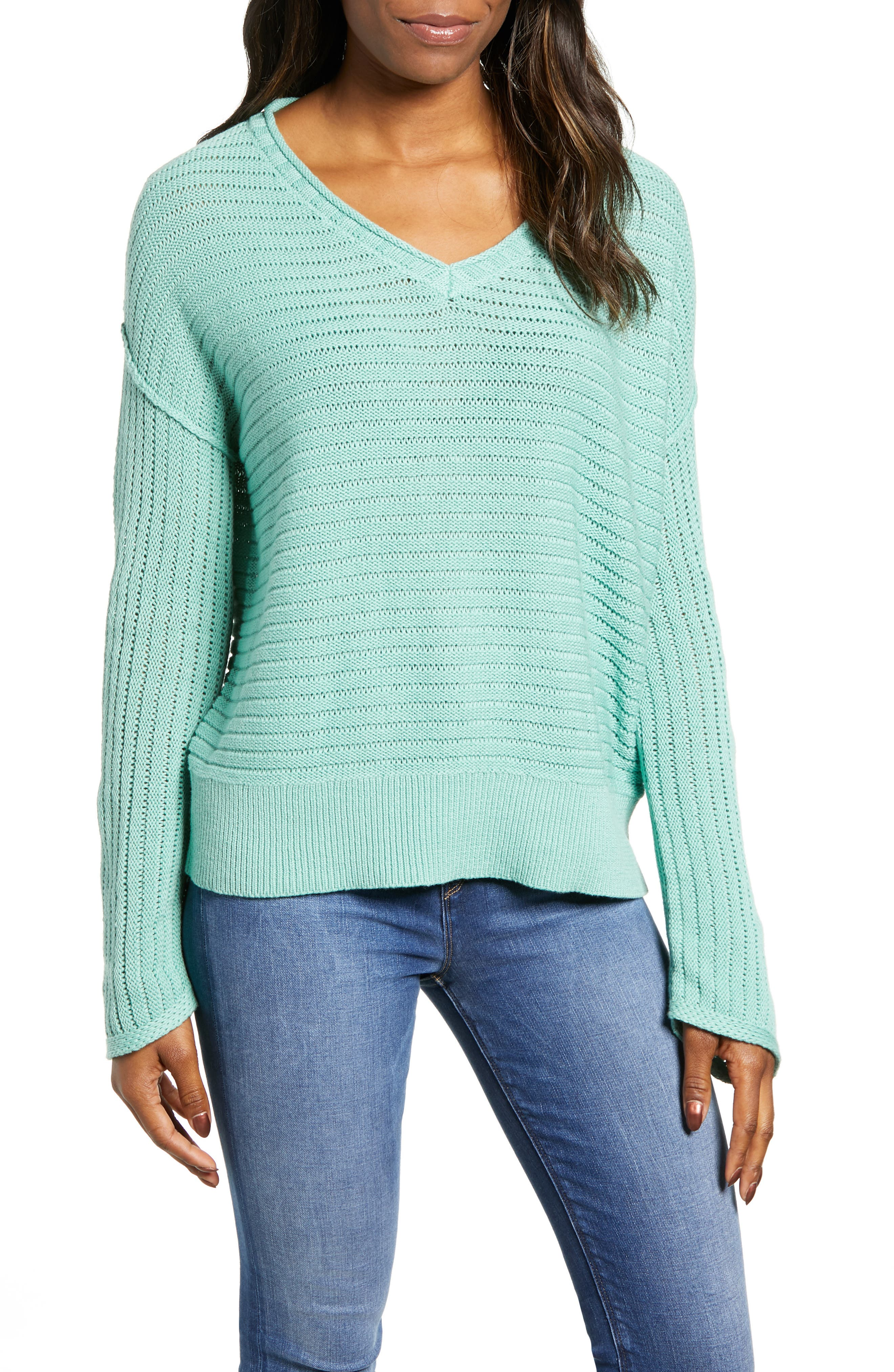 Tuck Stitch V-Neck Sweater, Main, color, GREEN WING