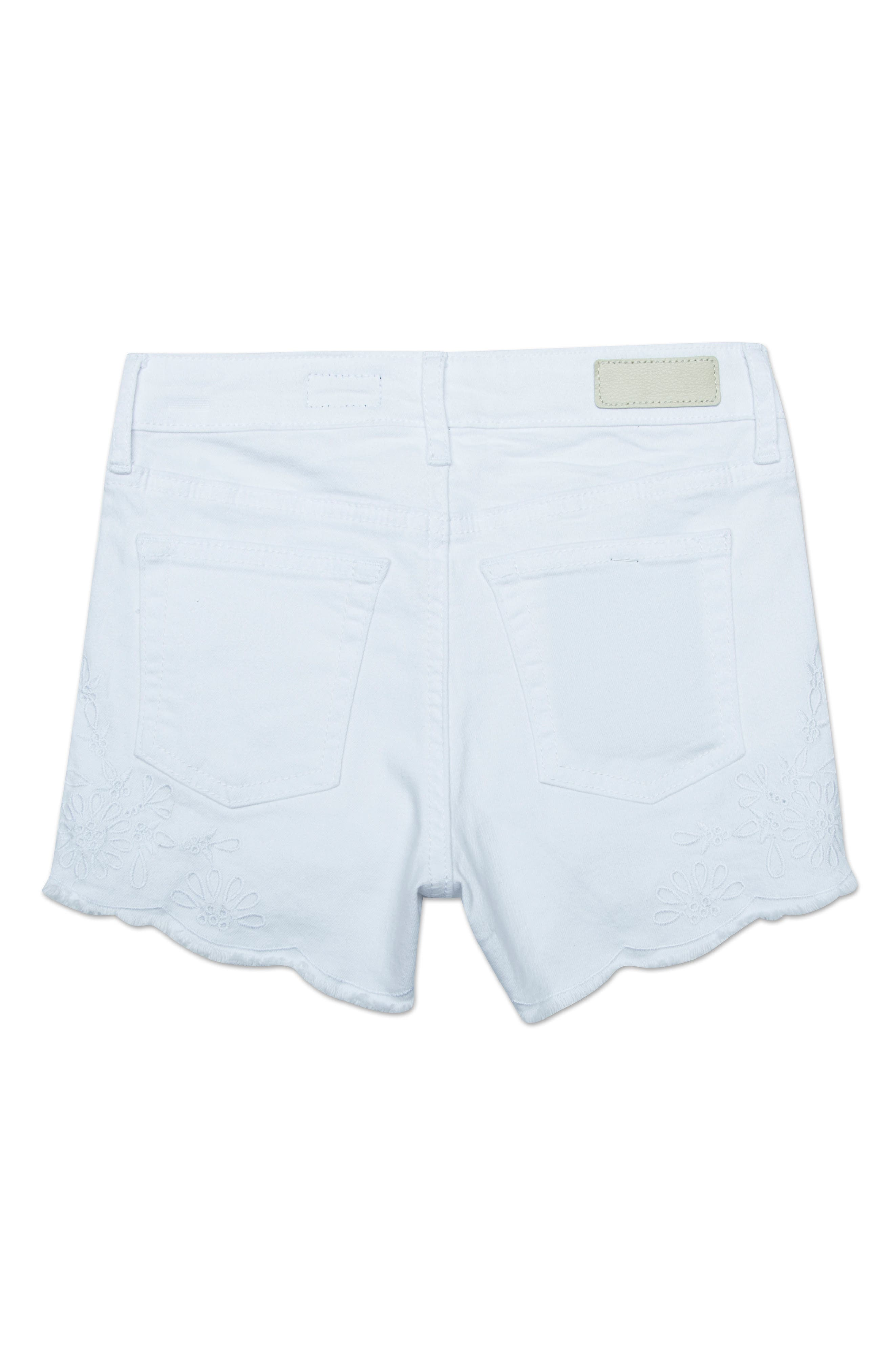 ag adriano goldschmeid kids The Brooklyn Scallop Denim Shorts,                             Alternate thumbnail 2, color,                             WHITE/ COCONUT