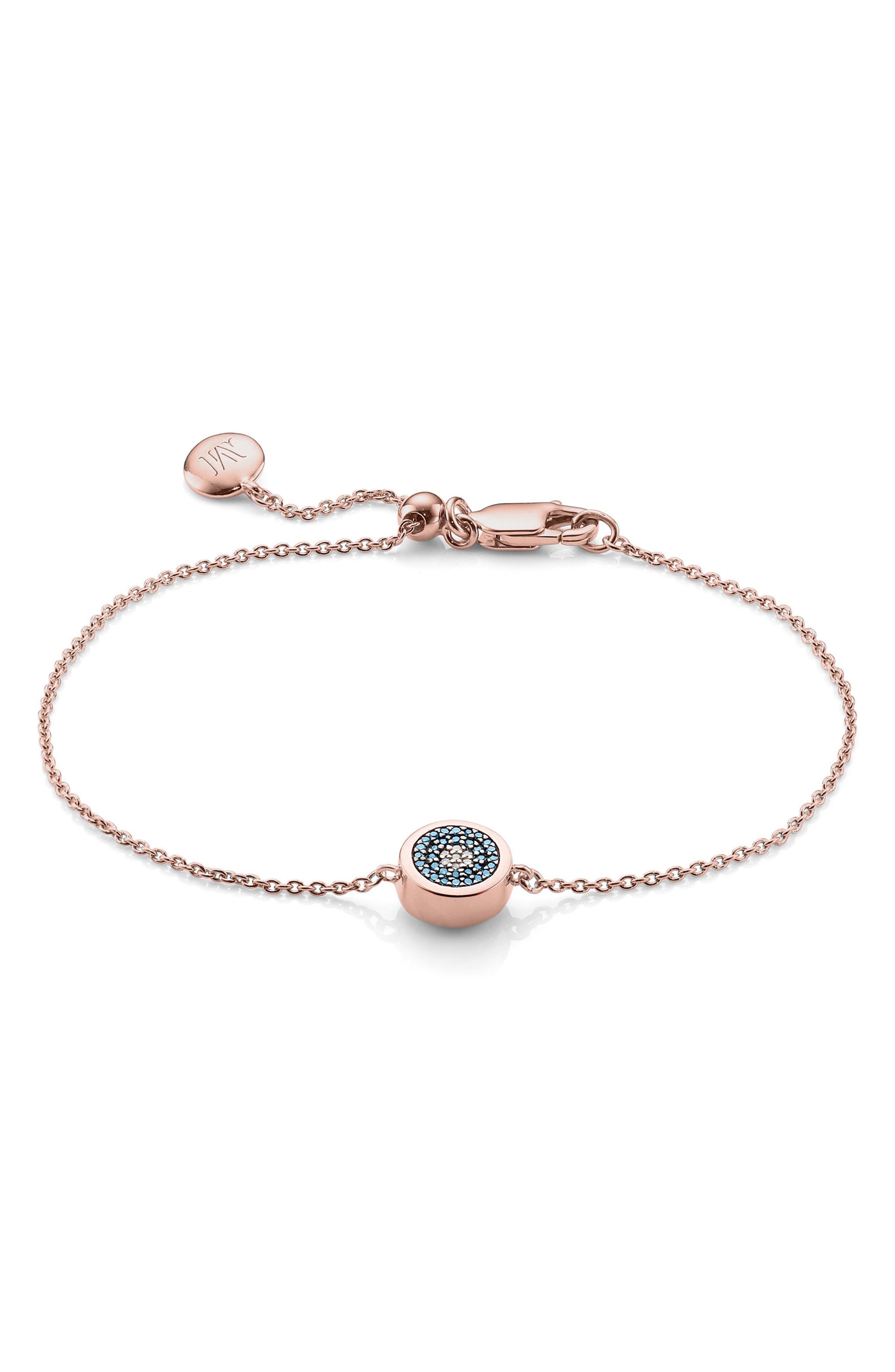 Evil Eye Bracelet,                             Main thumbnail 1, color,                             ROSE GOLD/ STAINLESS STEEL