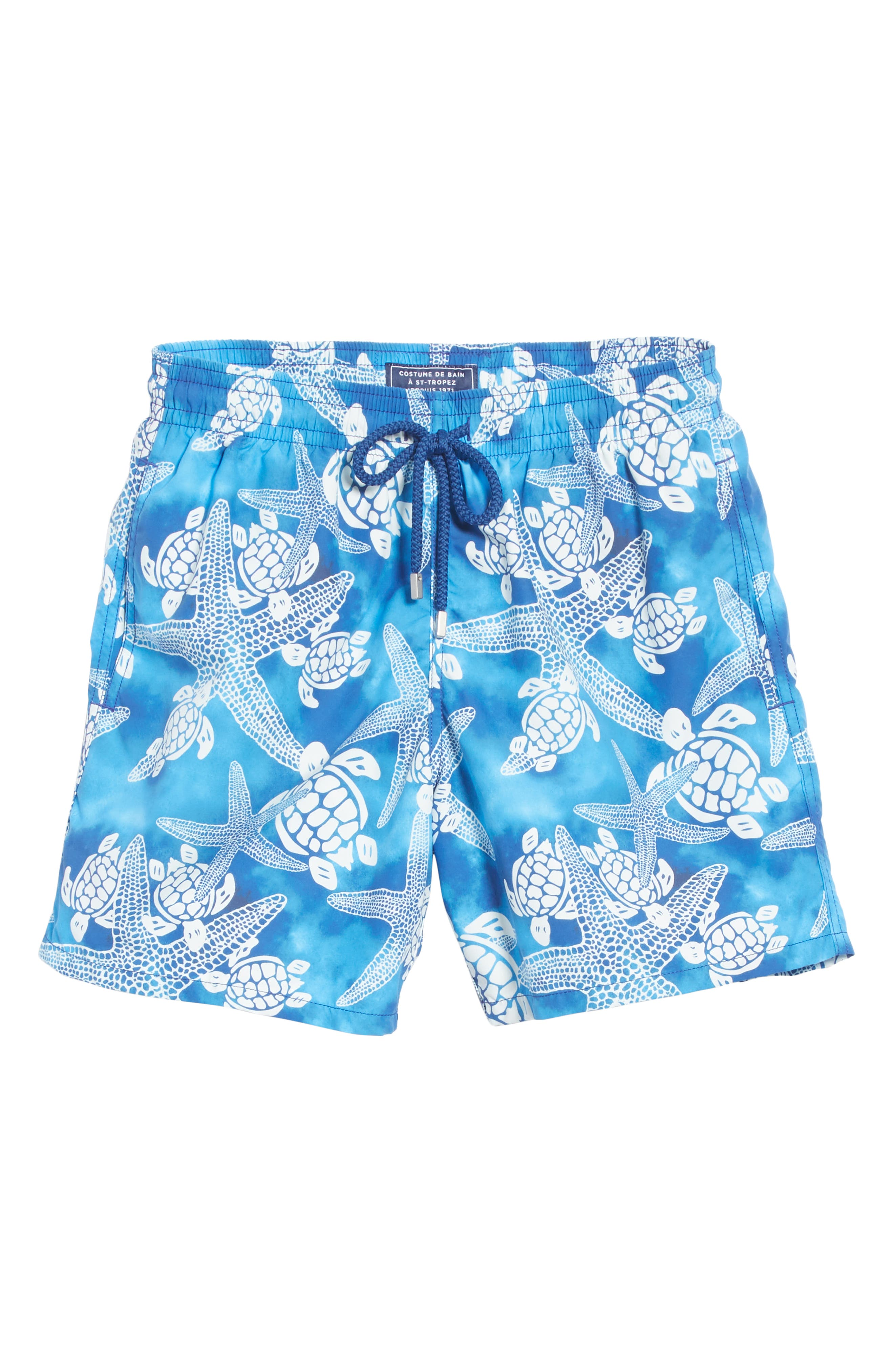 Starfish & Turtles Swim Trunks,                             Alternate thumbnail 6, color,                             NEPTUNE