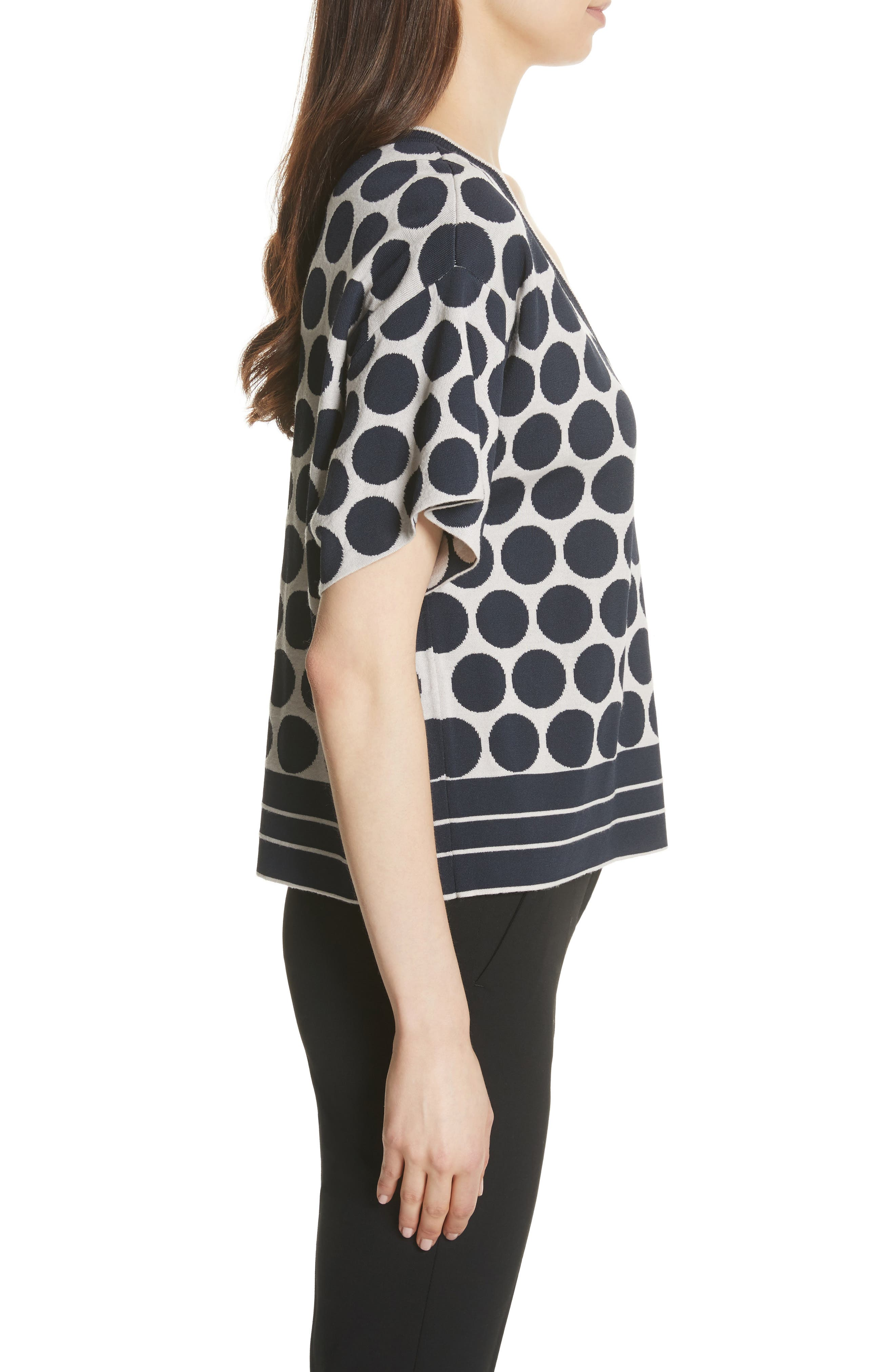 Polka Dot V-Neck Tee,                             Alternate thumbnail 3, color,