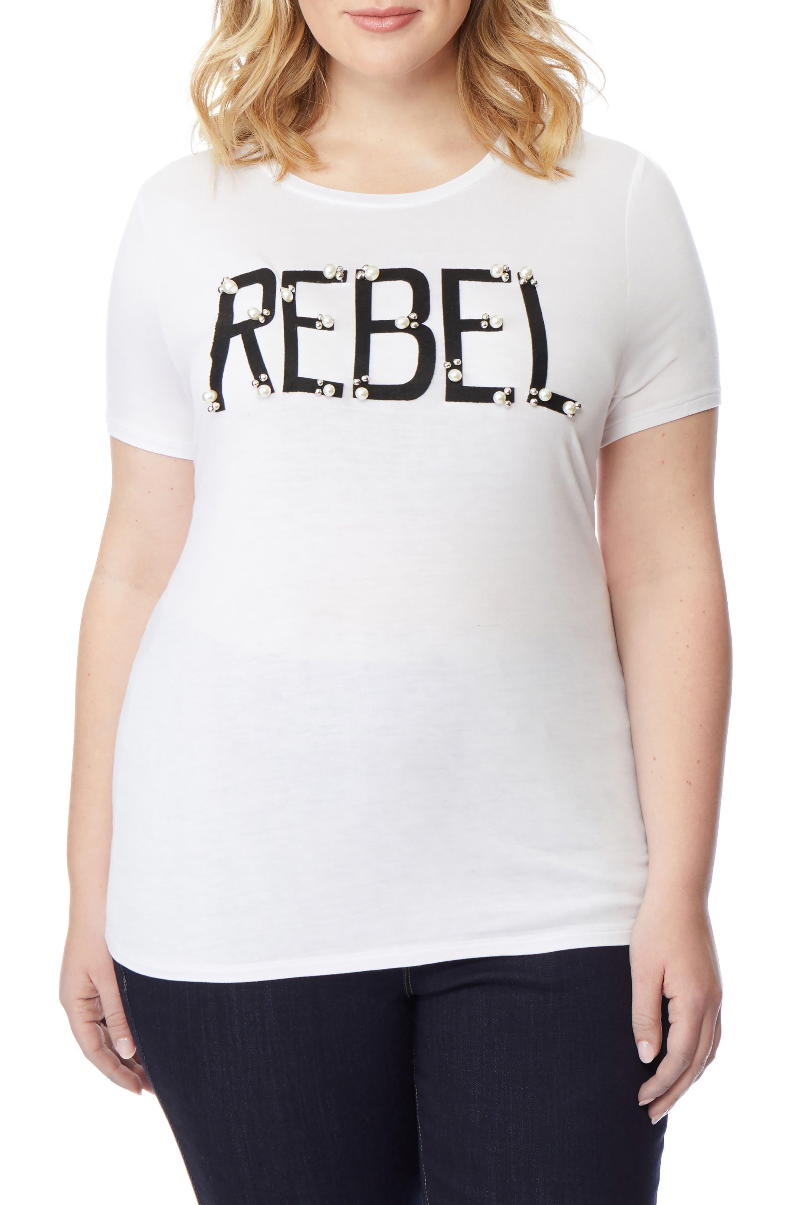 Rebel Embellished Graphic Tee,                             Main thumbnail 1, color,                             PEARLED REBEL