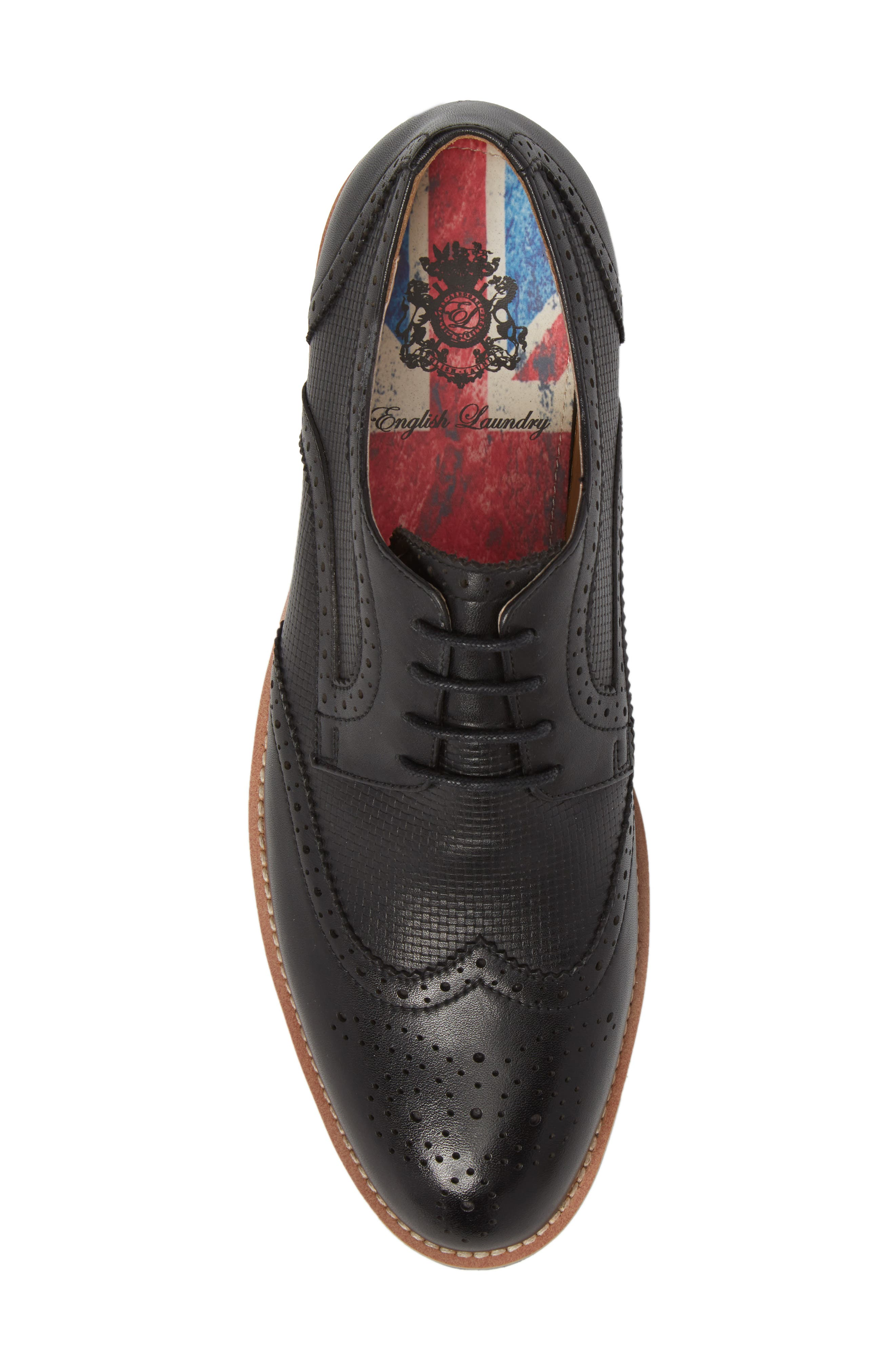 Cleave Embossed Wingtip,                             Alternate thumbnail 5, color,                             BLACK LEATHER