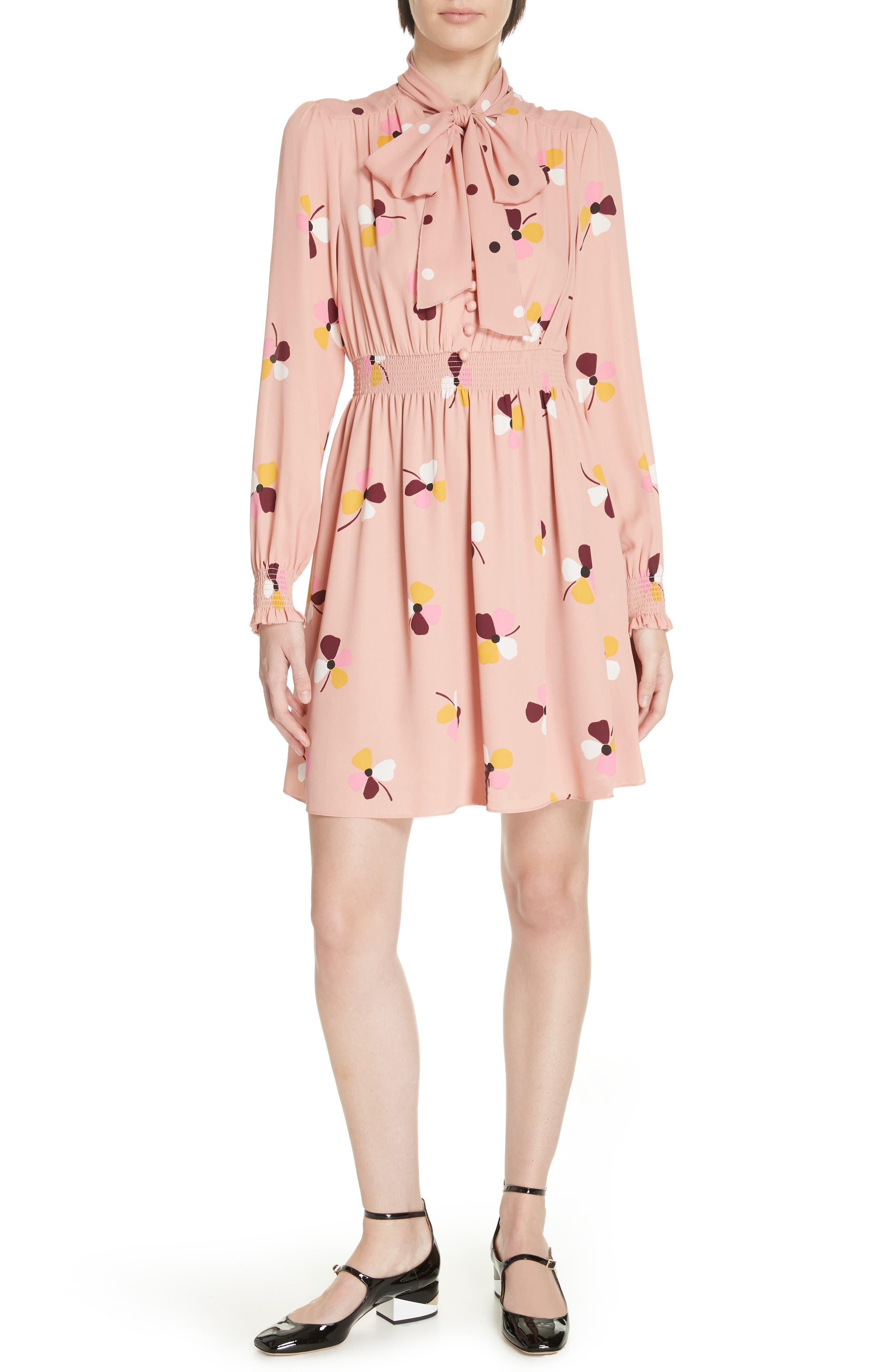 Kate Spade New York Dusk Buds Print Tie Neck Dress, Pink
