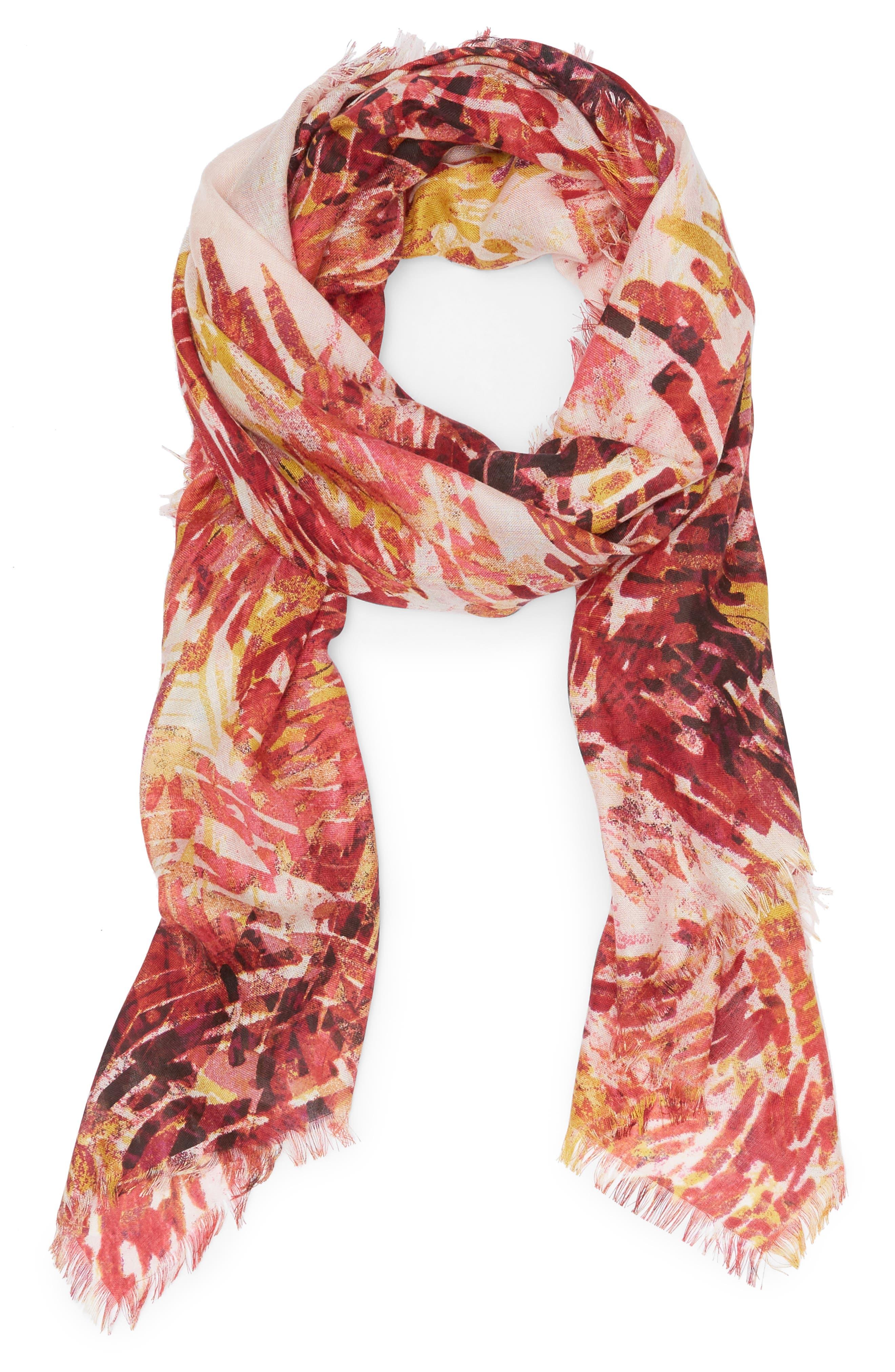Eyelash Trim Print Cashmere & Silk Wrap,                             Alternate thumbnail 57, color,