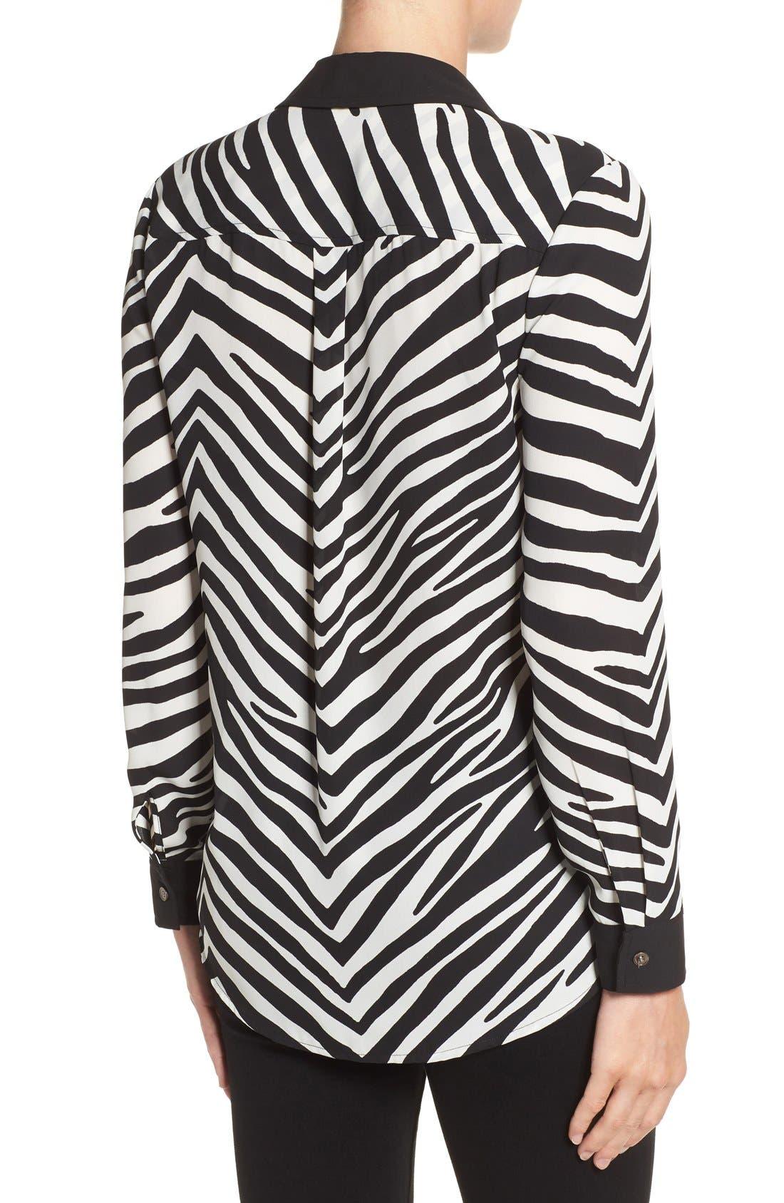Zebra Stripe Long Sleeve Blouse,                             Alternate thumbnail 2, color,                             006