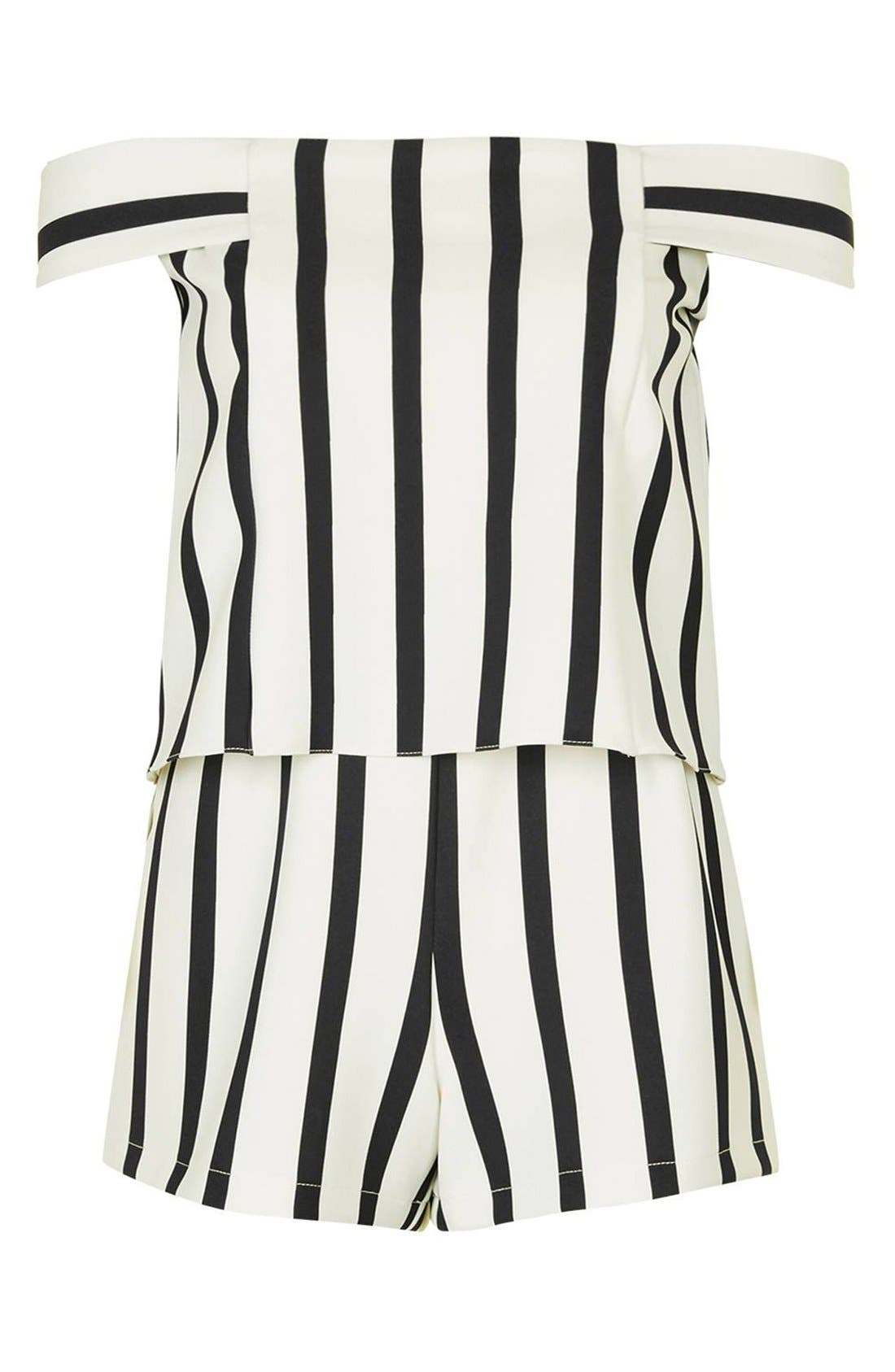 Stripe Off the Shoulder Romper,                             Alternate thumbnail 4, color,                             100