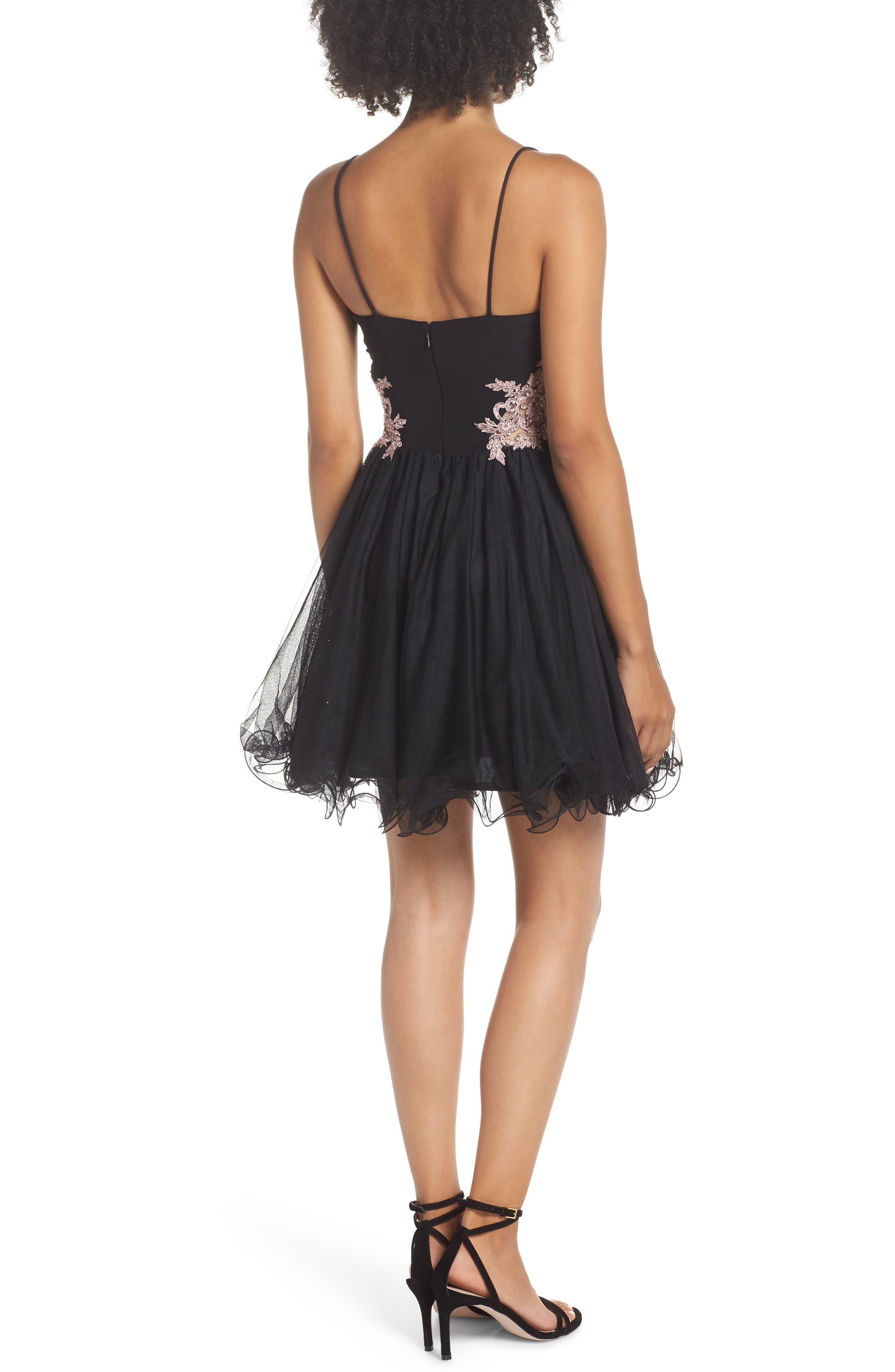 Appliqué Sweetheart Fit & Flare Dress,                             Alternate thumbnail 2, color,                             BLACK/ ROSE