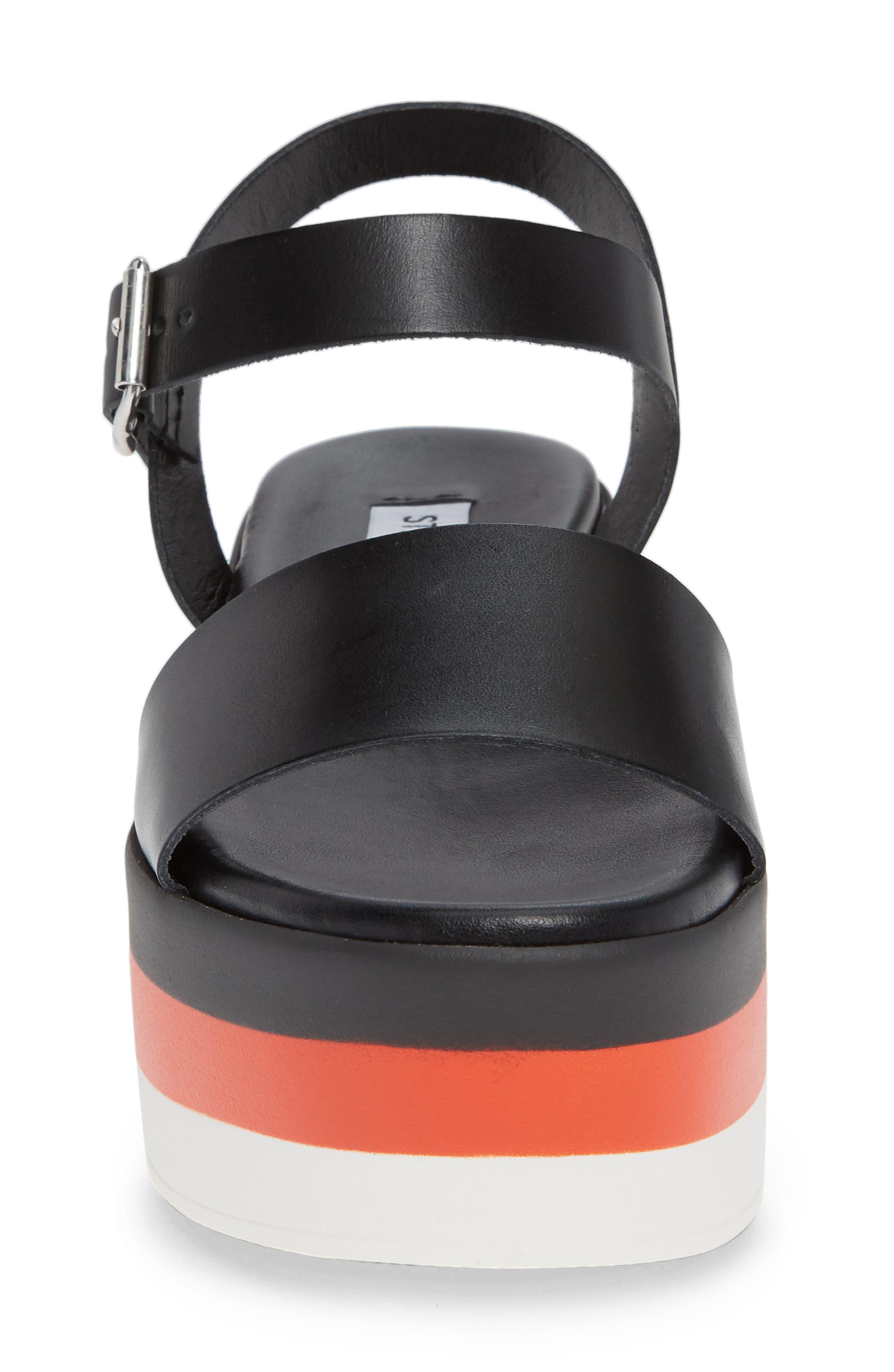 Holly Stripe Platform Sandal,                             Alternate thumbnail 4, color,                             BLACK LEATHER