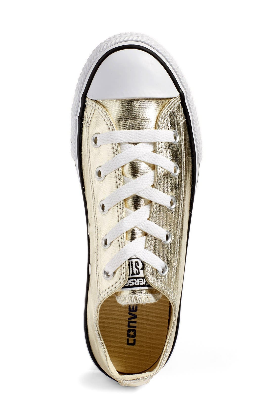 Chuck Taylor<sup>®</sup> All Star<sup>®</sup> Metallic Sneaker,                             Alternate thumbnail 3, color,                             LIGHT GOLD/ WHITE
