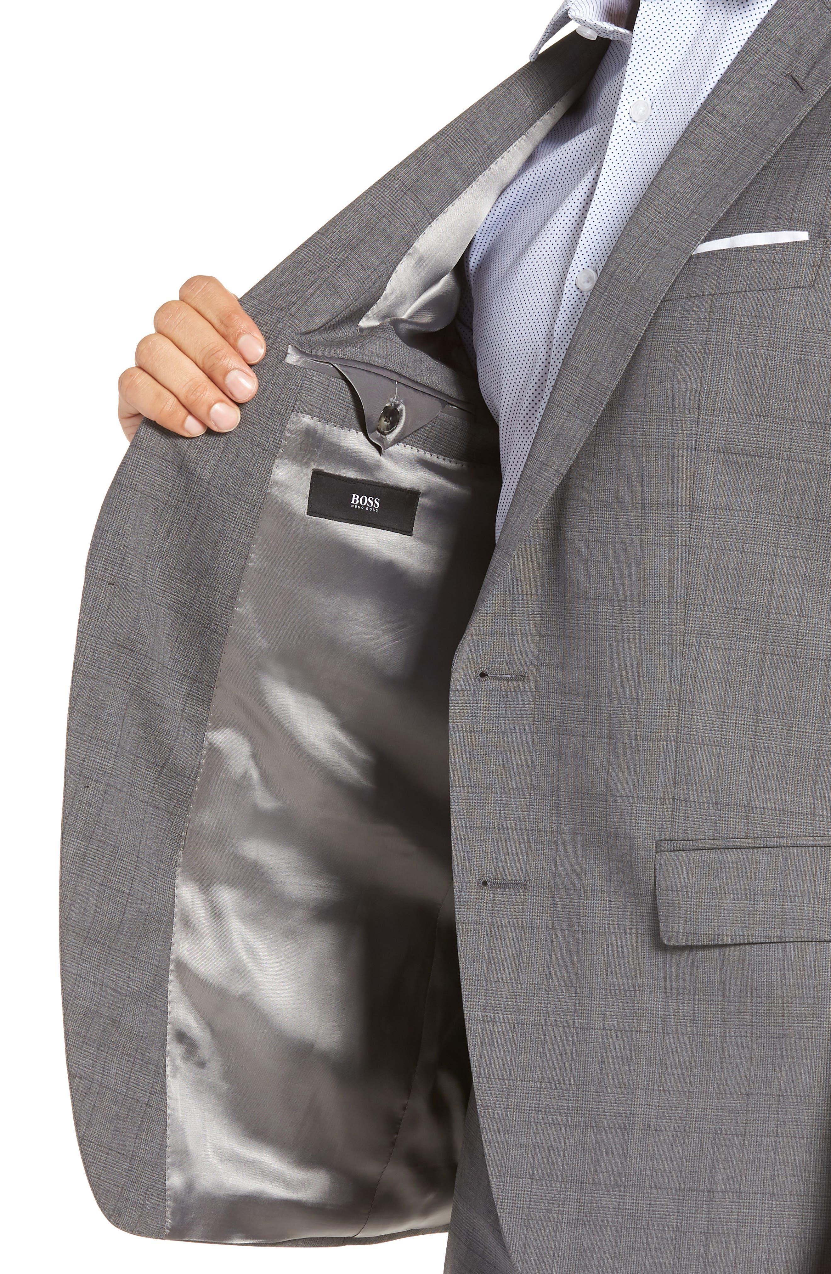 Huge/Genius Trim Fit Plaid Wool Suit,                             Alternate thumbnail 4, color,                             GREY