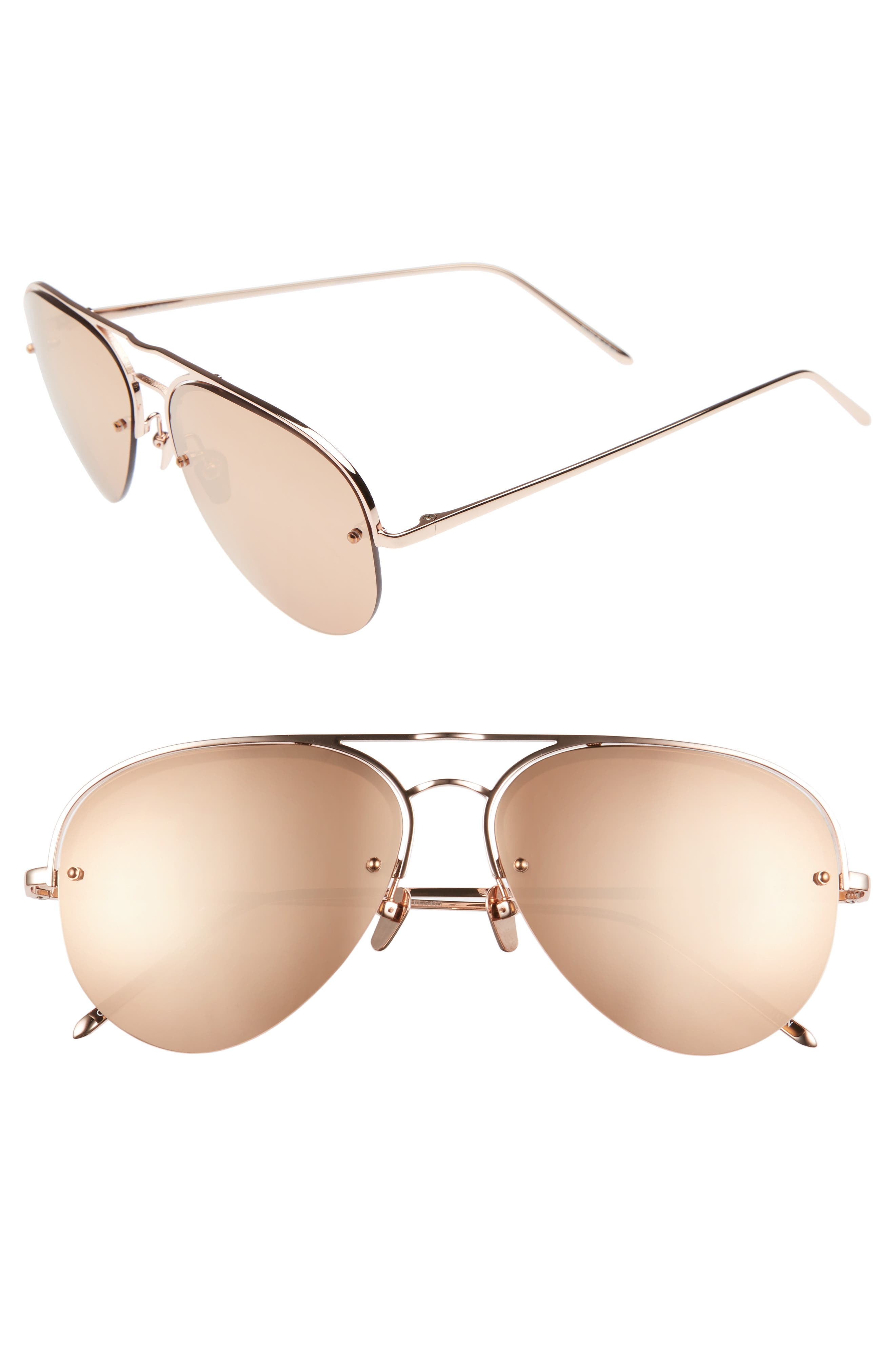 60mm Mirrored 18 Karat Gold Aviator Sunglasses,                         Main,                         color, ROSE GOLD