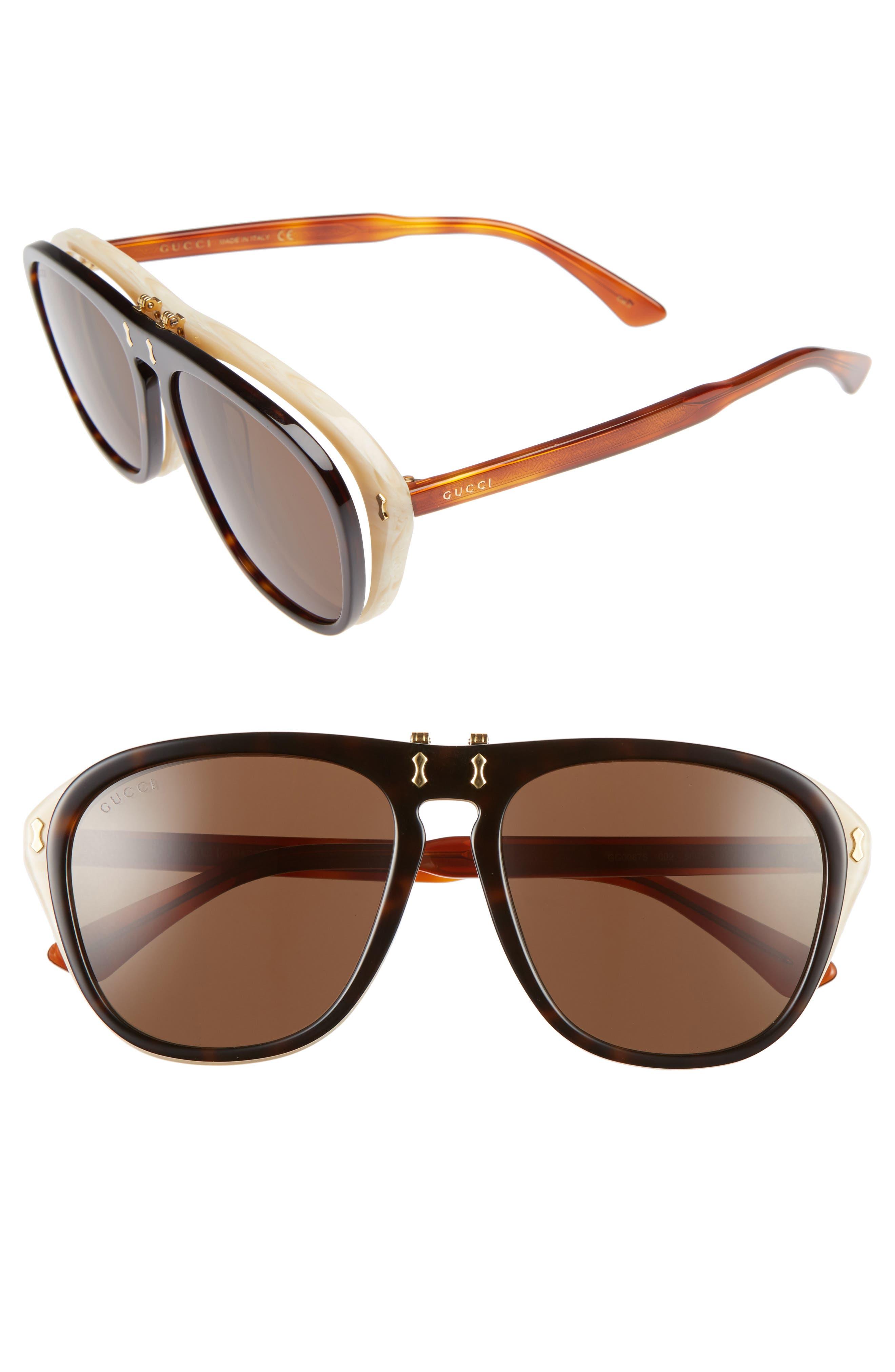 56mm Flip-Up Sunglasses,                             Main thumbnail 1, color,                             HAVANA/ BROWN