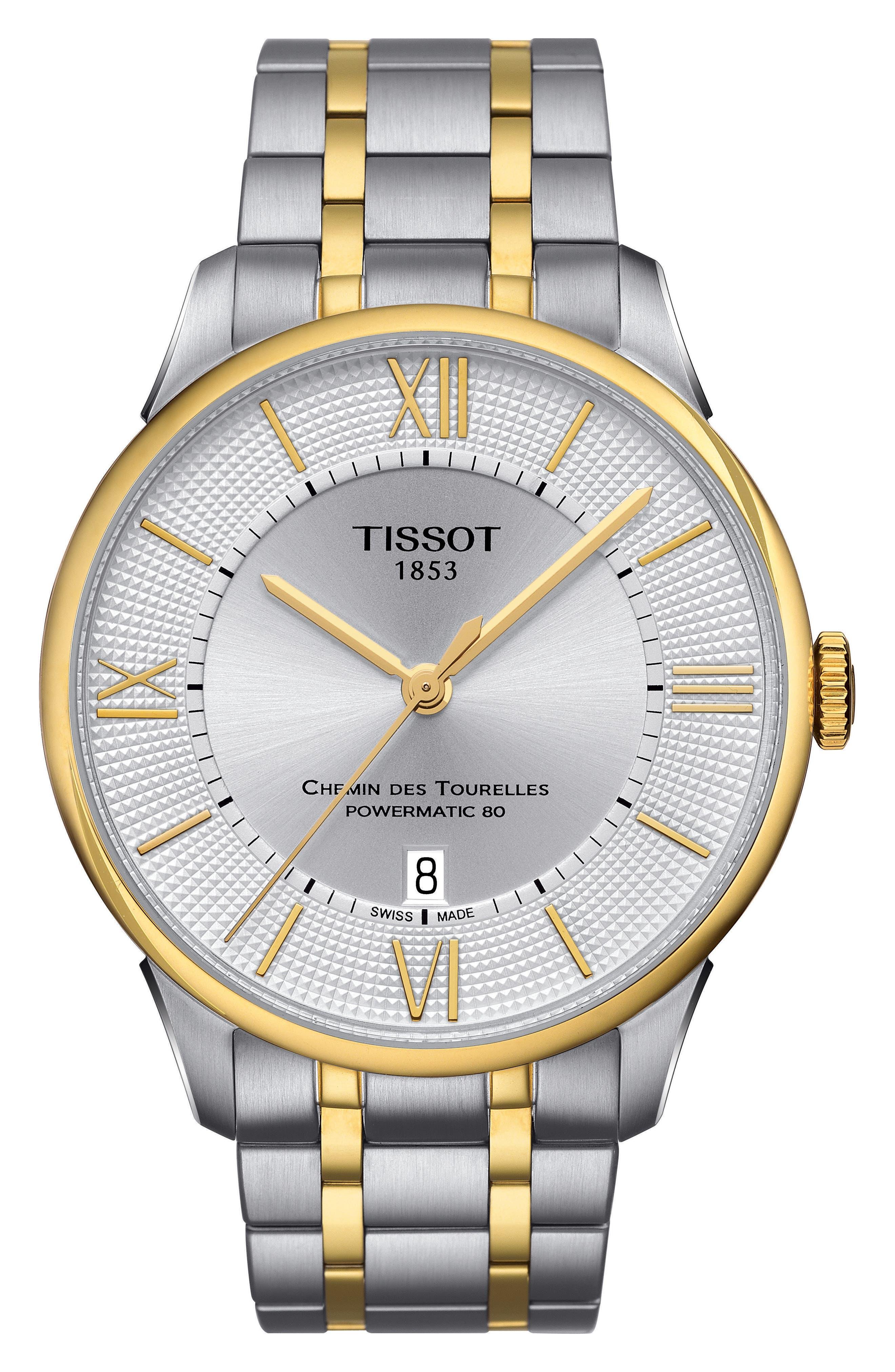Chemin Des Tourelles Automatic Bracelet Watch, 42mm,                             Main thumbnail 1, color,                             SILVER/ GOLD