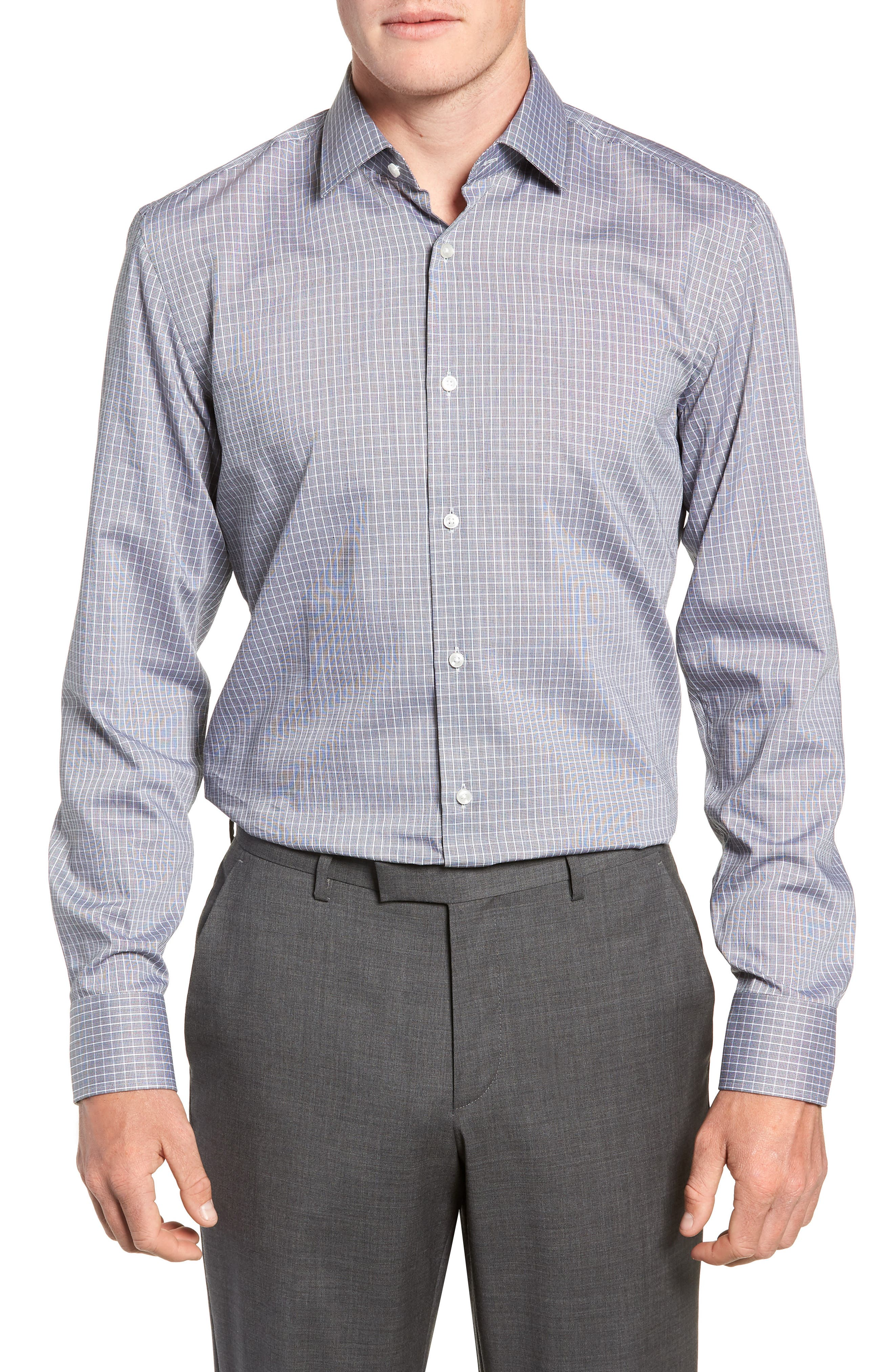 Jenno Trim Fit Check Dress Shirt,                             Main thumbnail 1, color,                             003