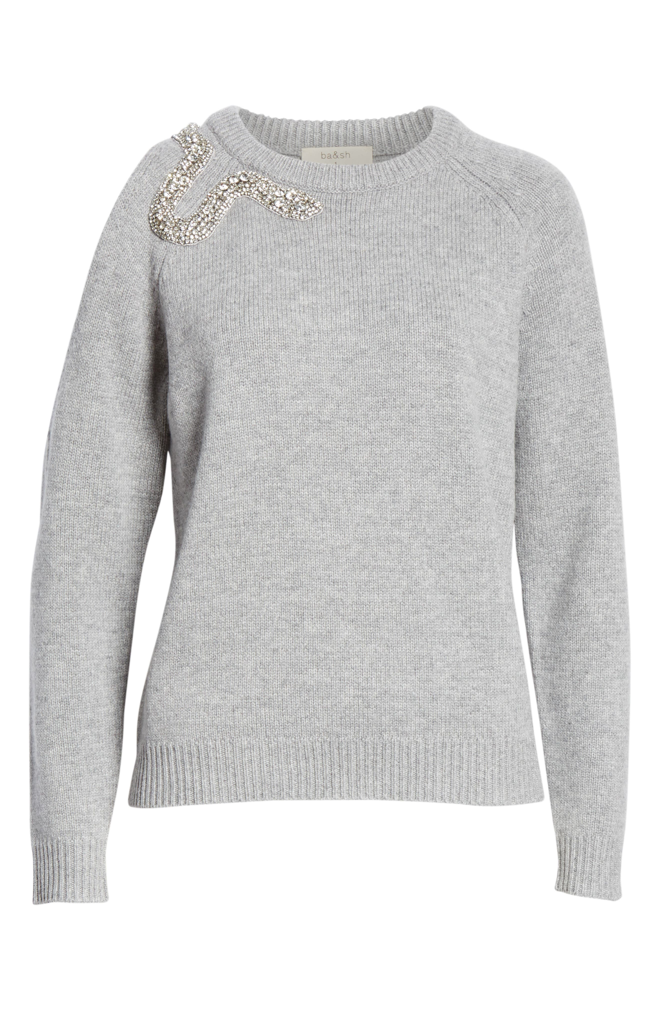 Ossi Embellished Wool Sweater,                             Alternate thumbnail 6, color,                             GRIS