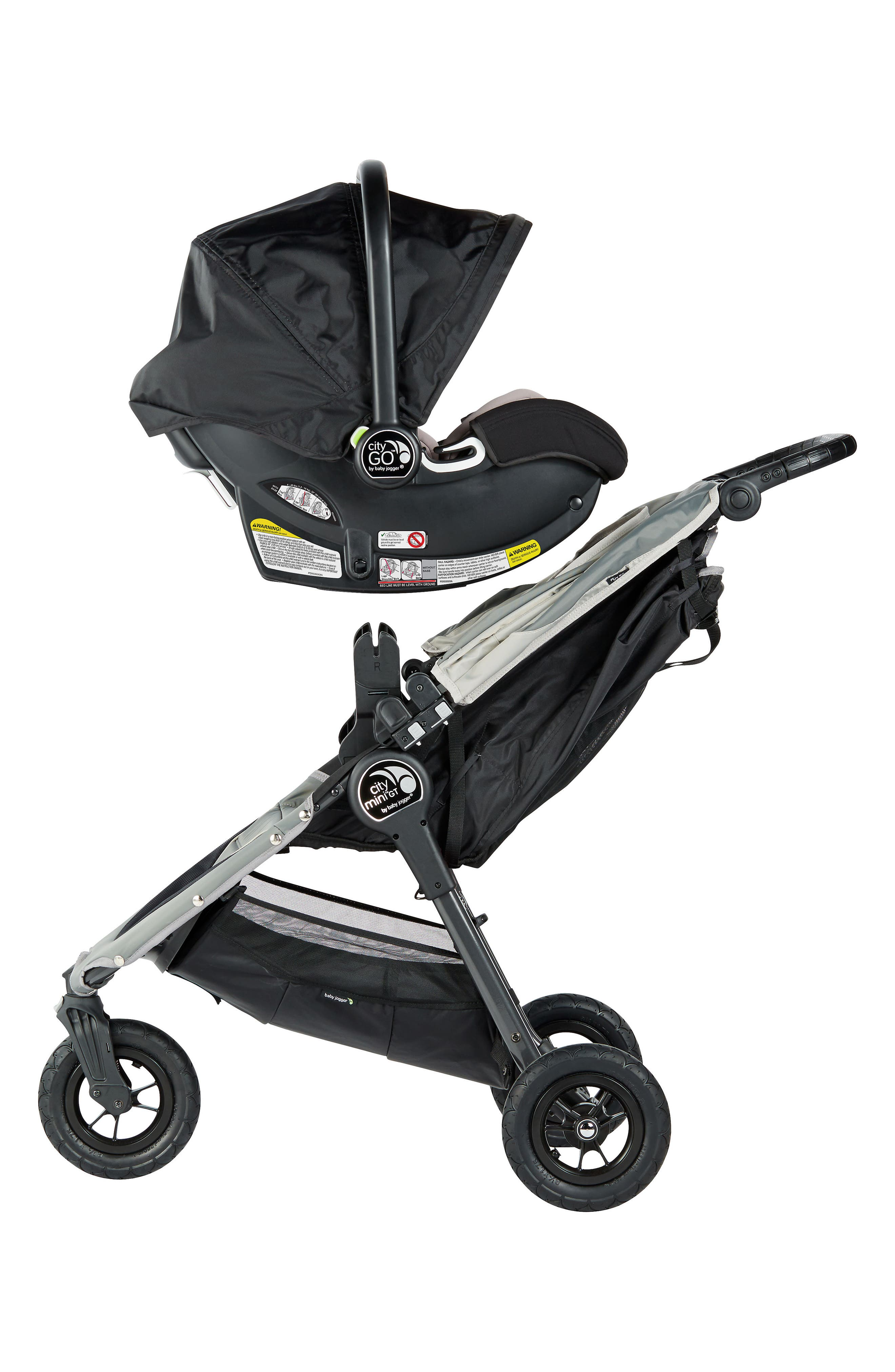 City Mini Single Stroller & City Go Infant Car Seat Travel System,                             Alternate thumbnail 3, color,                             BLACK