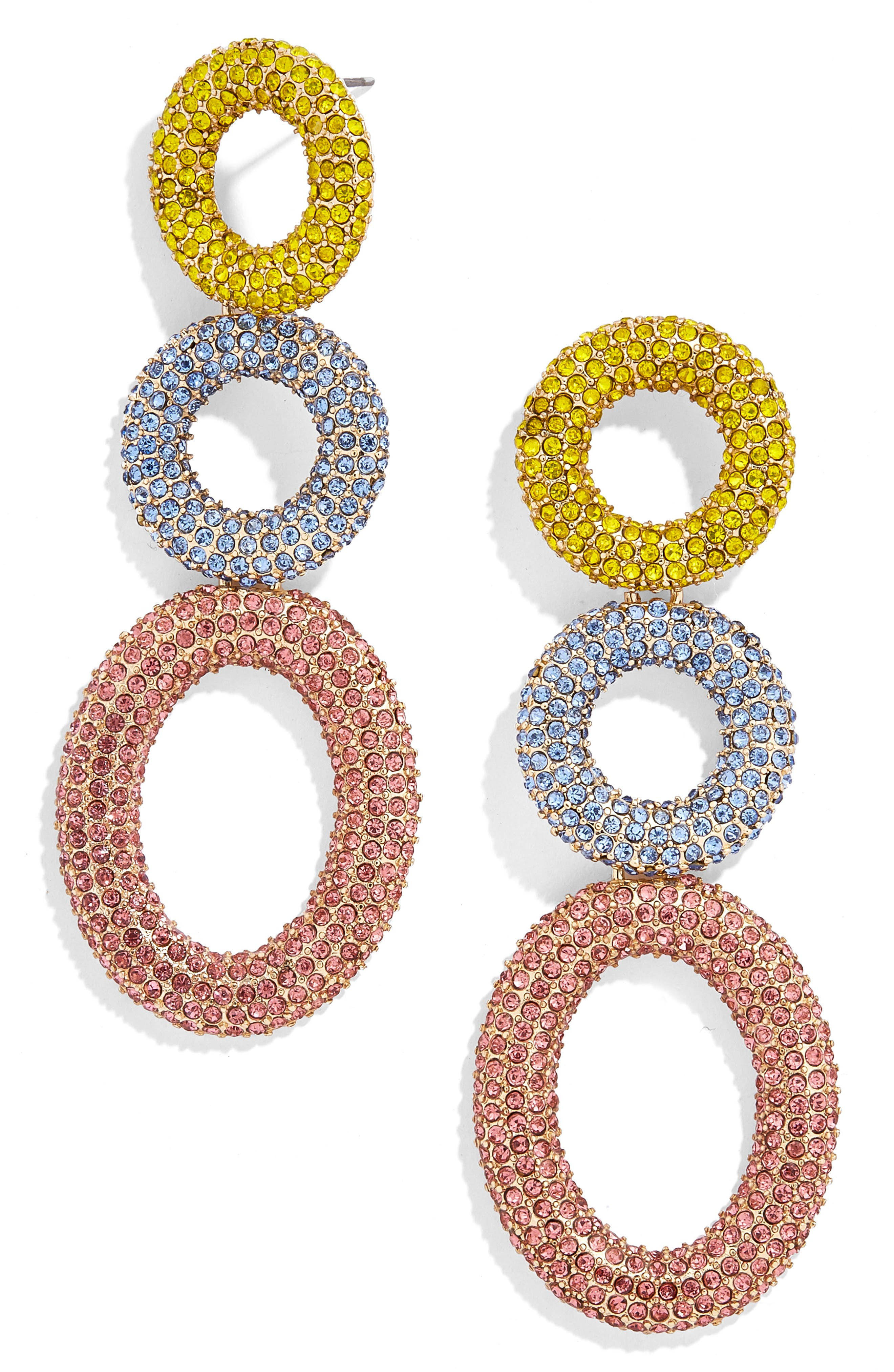 Mimi Tiered Drop Earrings,                         Main,                         color, YELLOW/ LAVENDER/ PINK