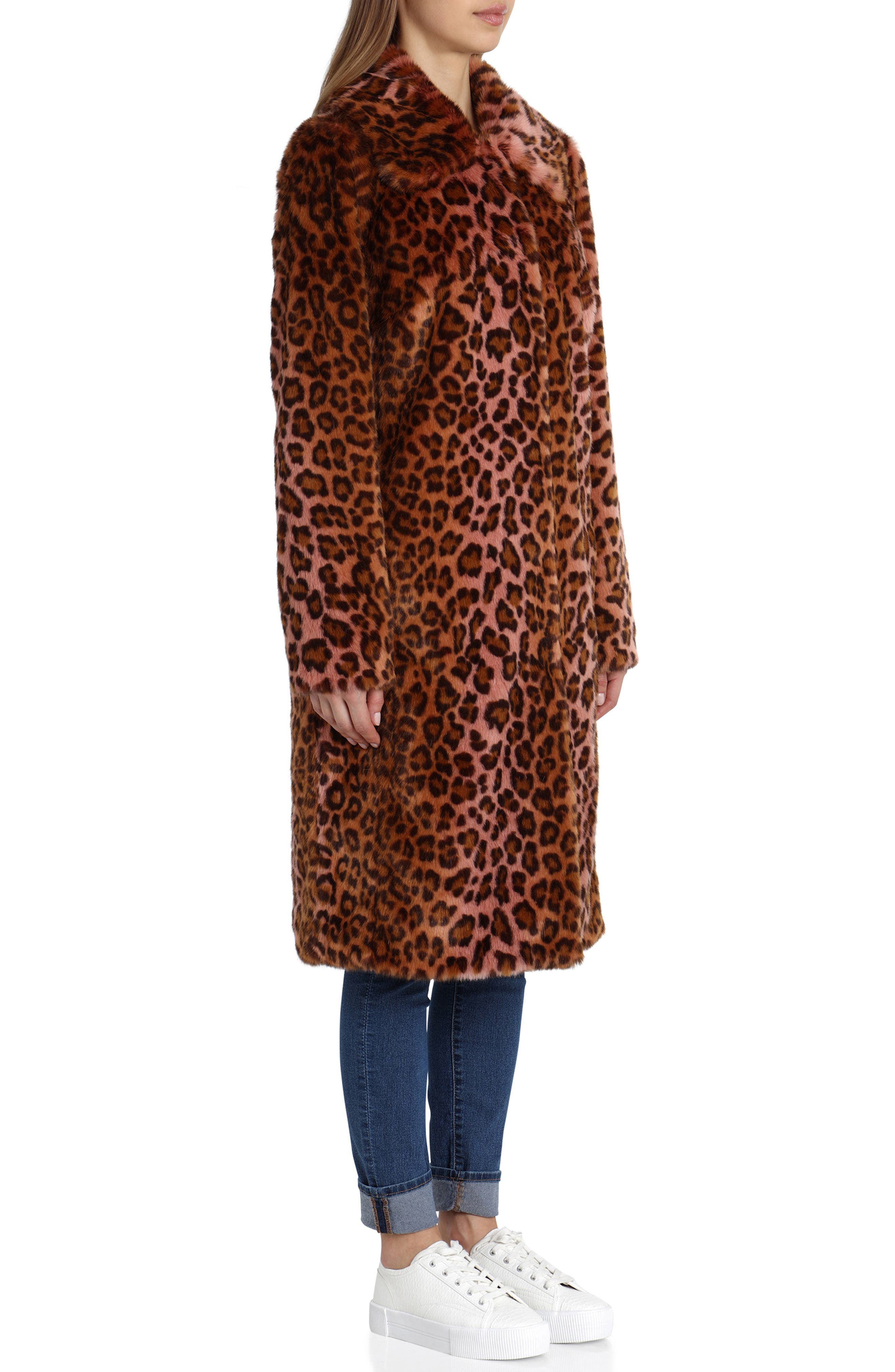 Leopard Print Faux Fur Car Coat,                             Alternate thumbnail 2, color,                             PINK LEOPARD