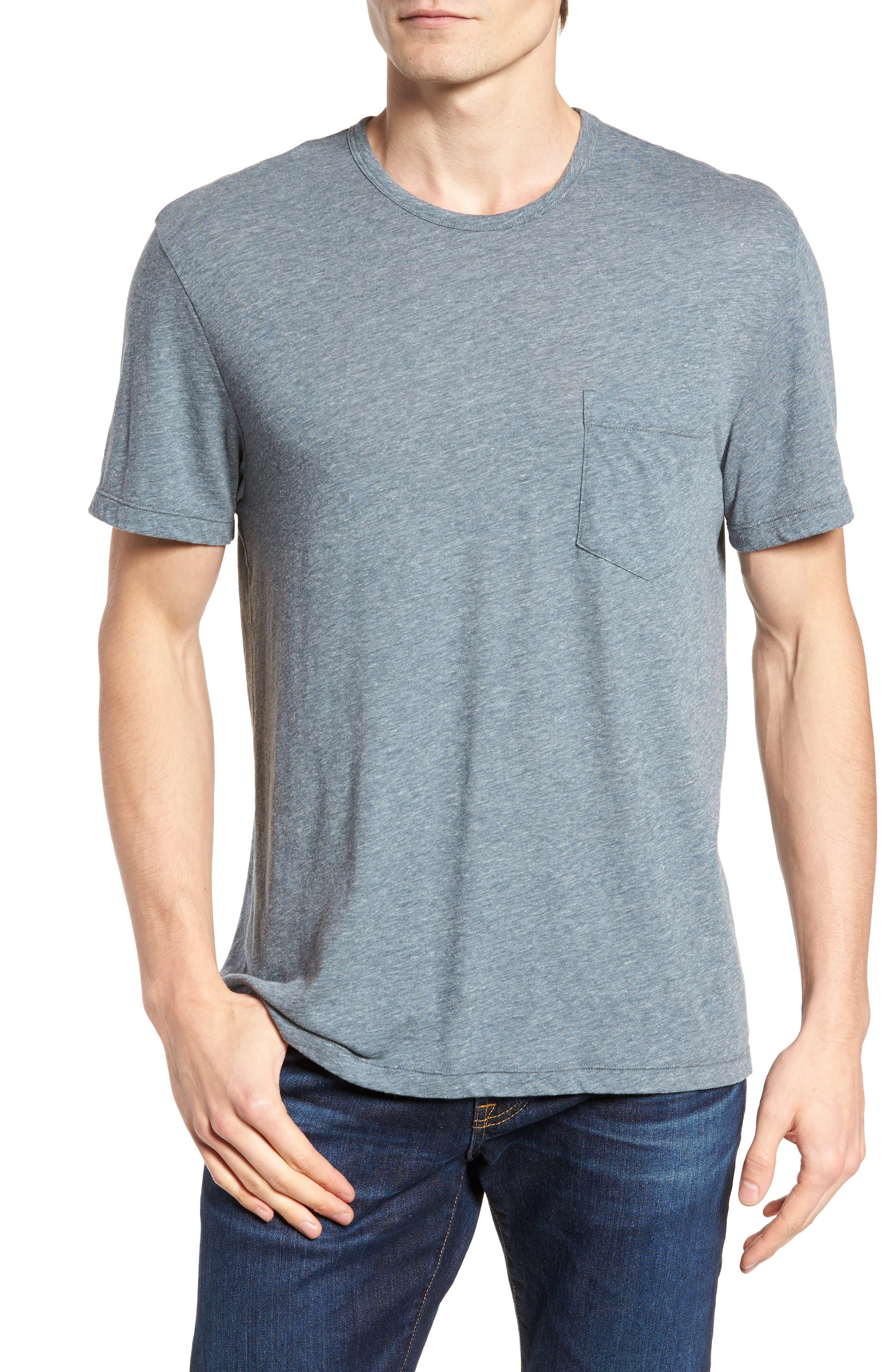 Slubbed Cotton & Linen Pocket T-Shirt,                             Main thumbnail 2, color,