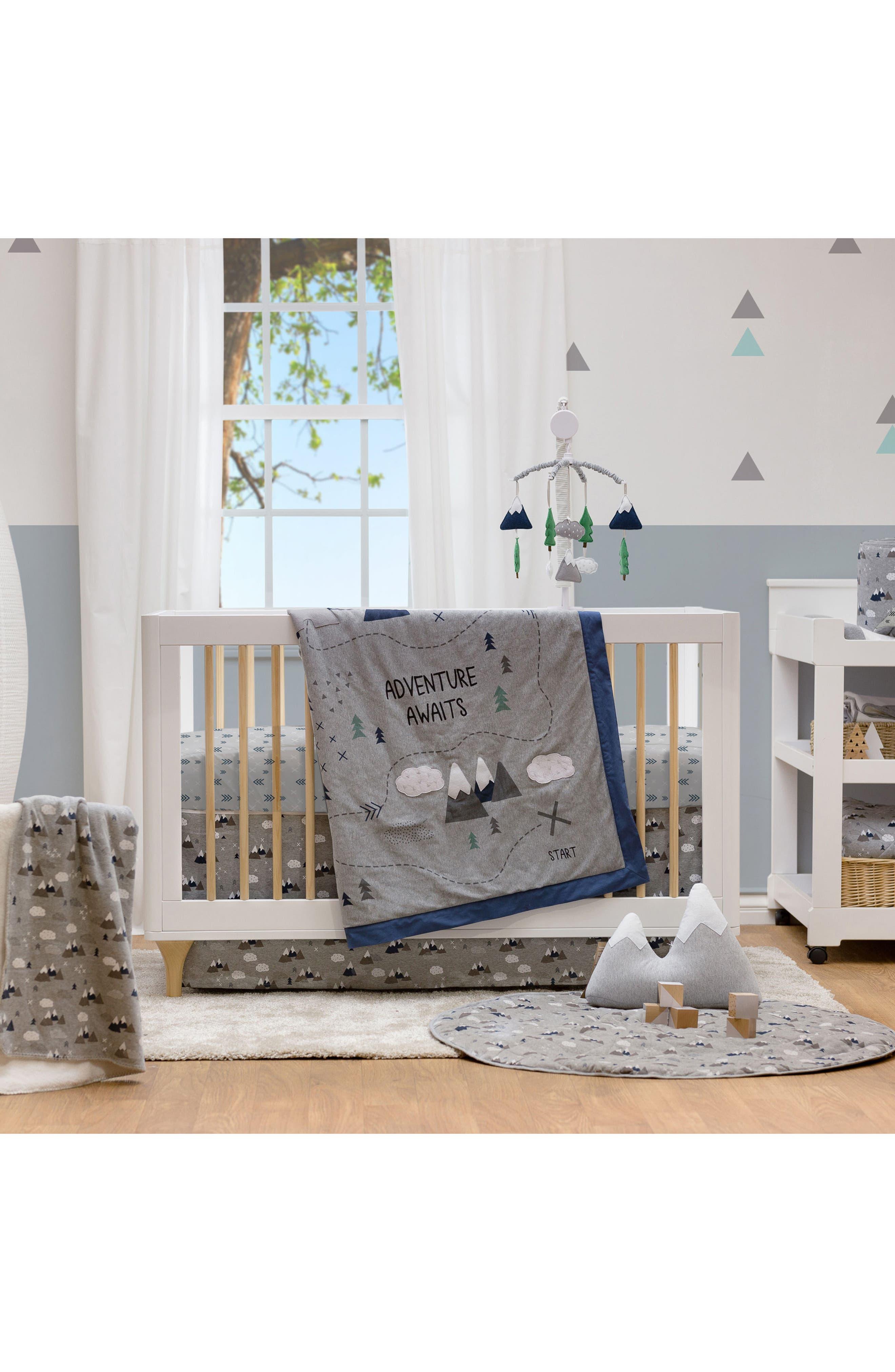 LIVING TEXTILES,                             Peaks 4-Piece Crib Bedding Set,                             Alternate thumbnail 4, color,                             PEAKS