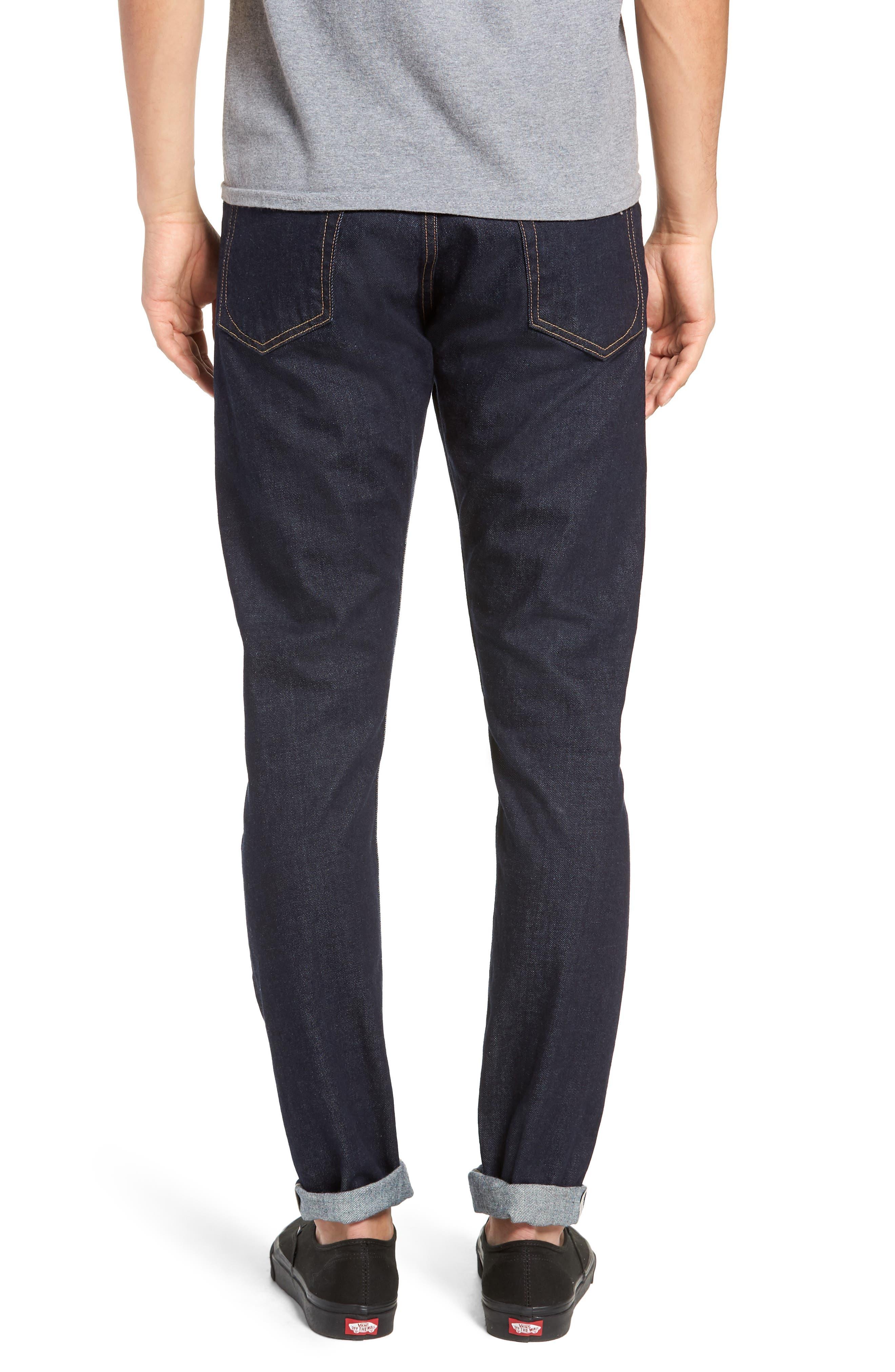 Fit 1 Skinny Fit Jeans,                             Alternate thumbnail 2, color,                             INDIGO RINSE SELVEDGE