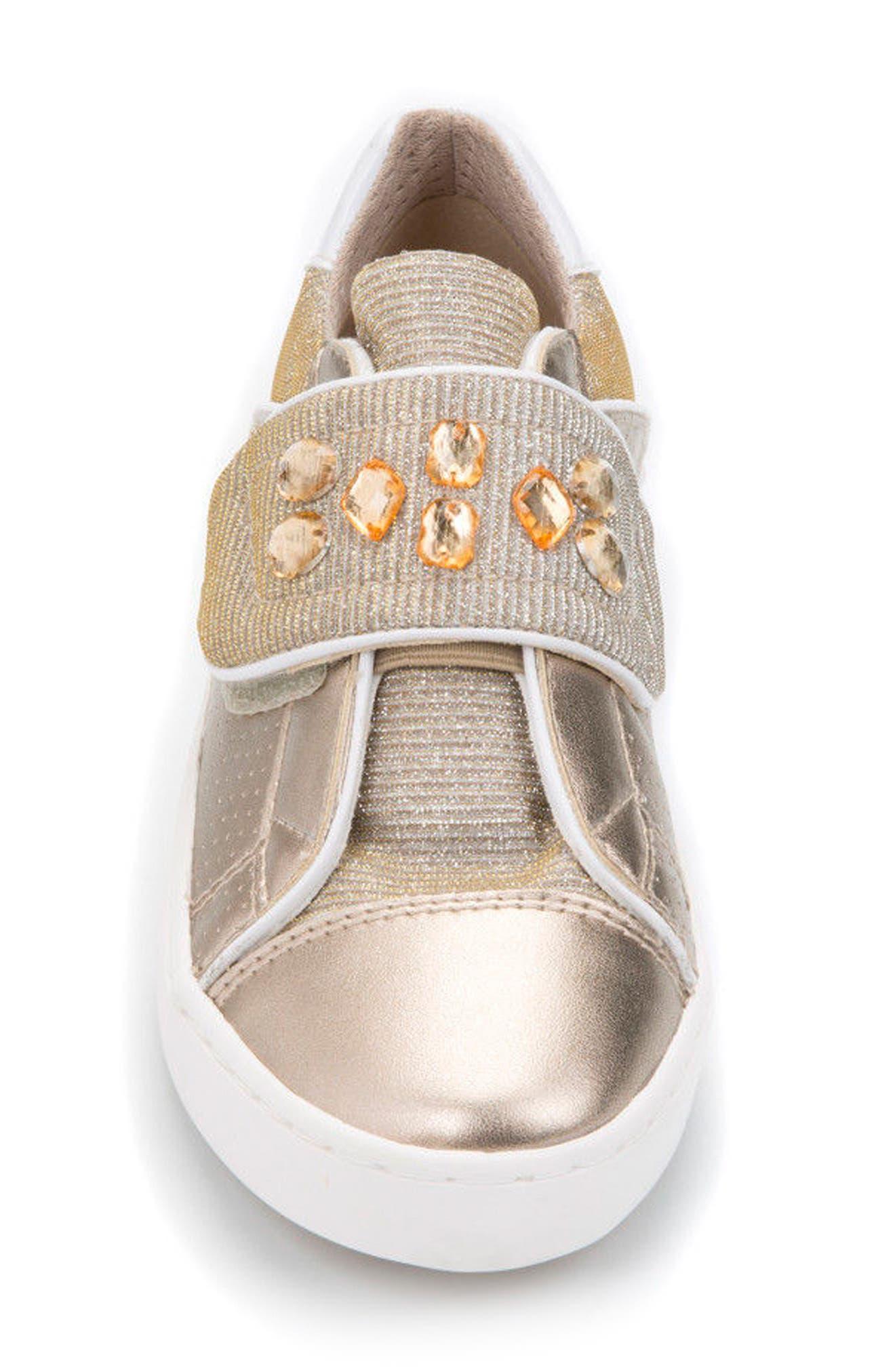 Kilwi Metallic Embellished Sneaker,                             Alternate thumbnail 4, color,                             GOLD