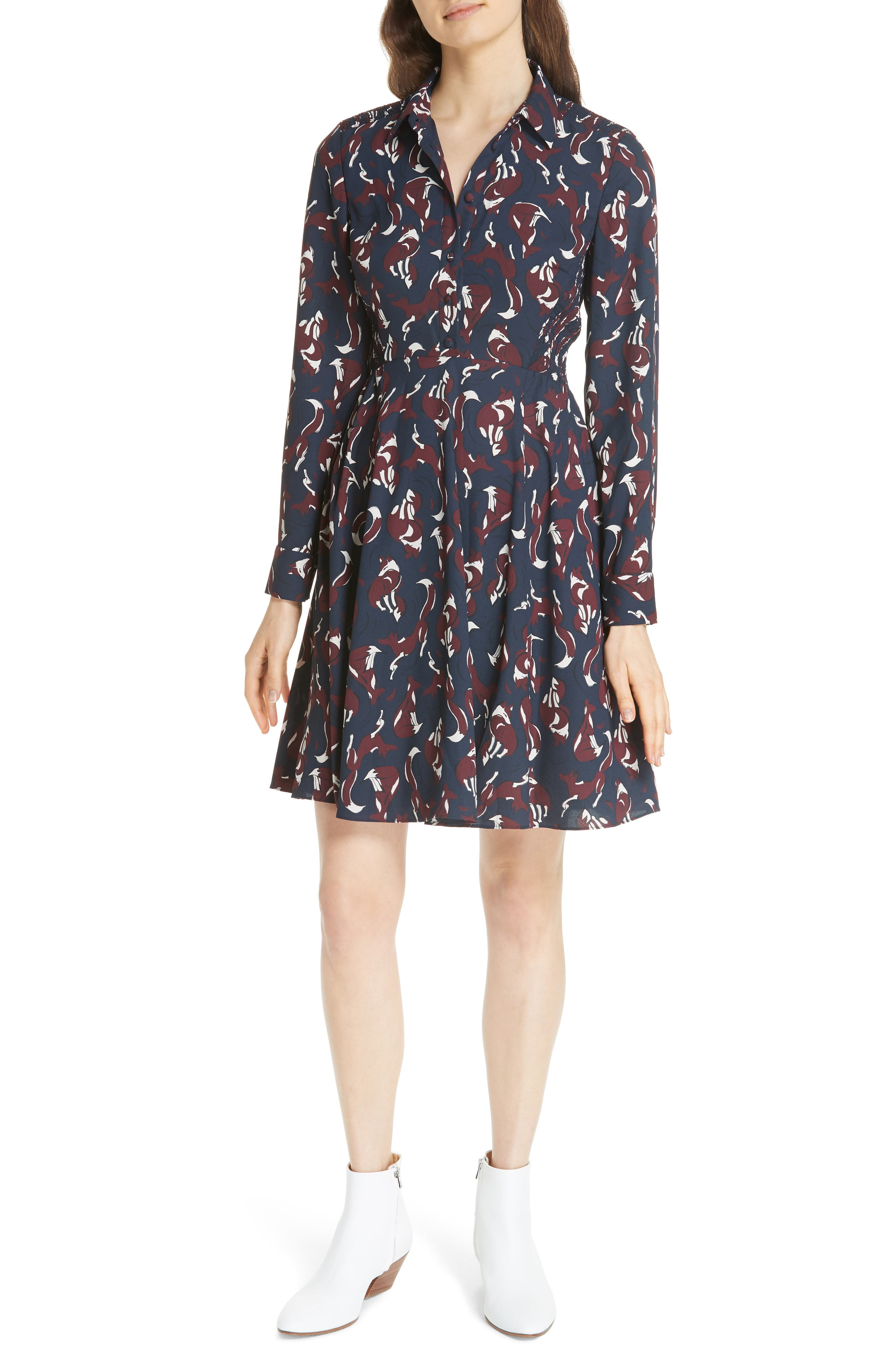 KATE SPADE NEW YORK foxes smocked shirtdress, Main, color, 426