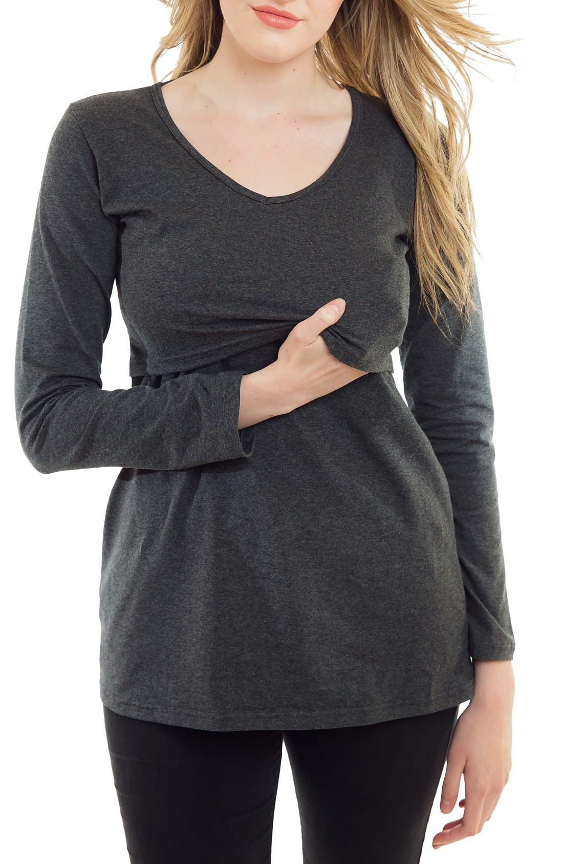 Long Sleeve Nursing Maternity Tee,                         Main,                         color, HEATHER CHARCOAL
