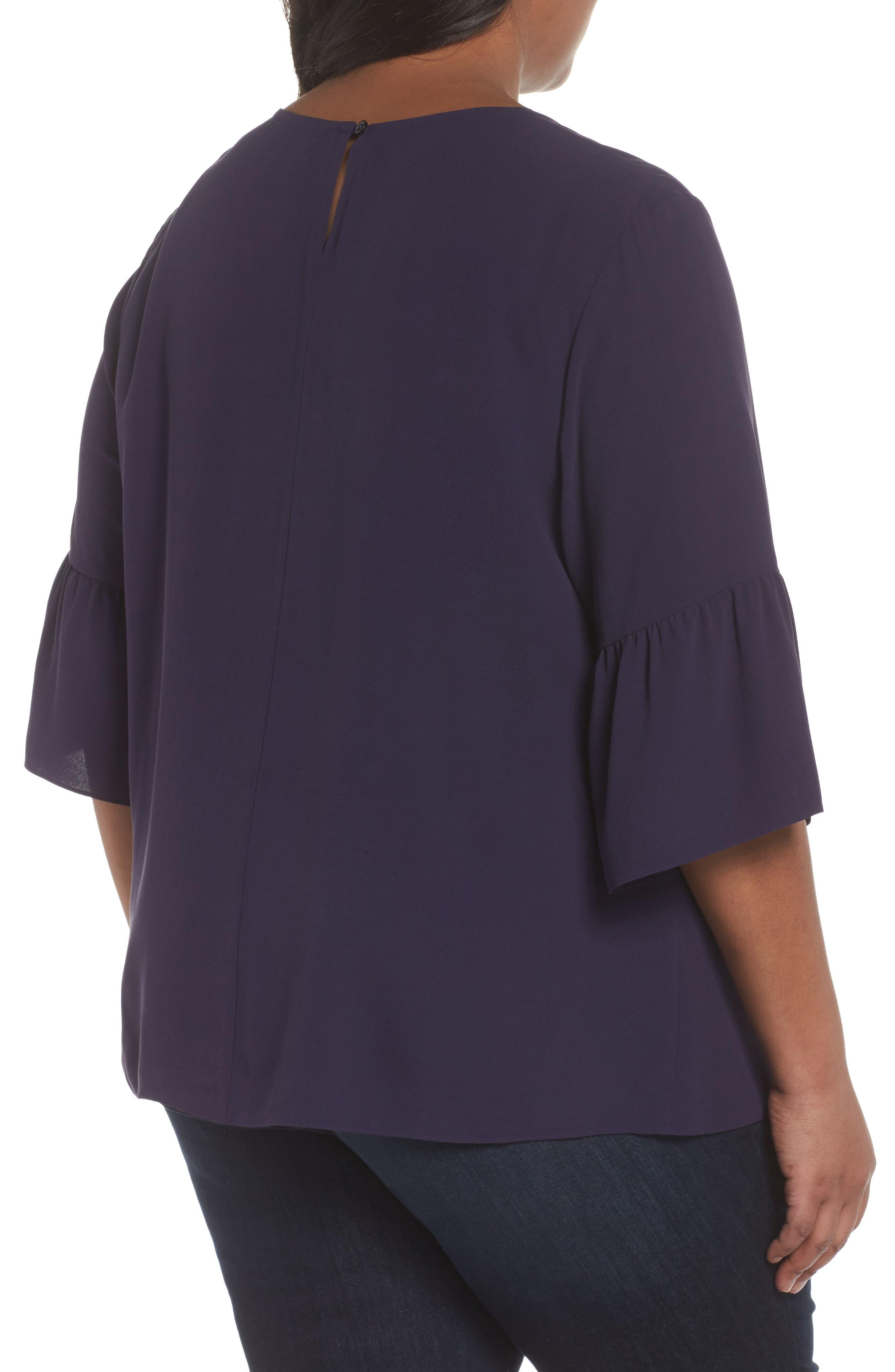 Ruffled Sleeve Silk Top,                             Alternate thumbnail 7, color,