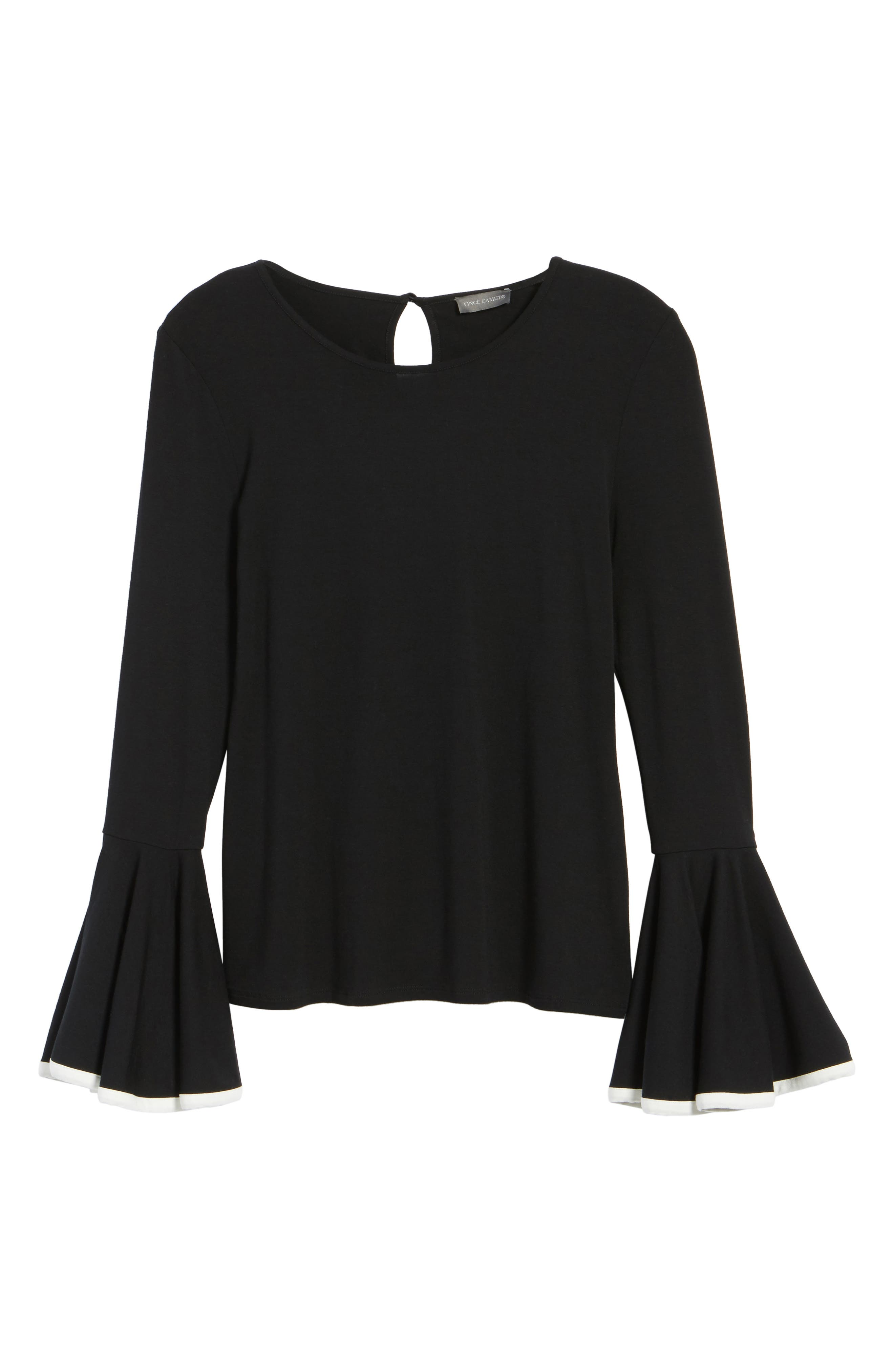 Tipped Bell Sleeve Top,                             Alternate thumbnail 6, color,                             006