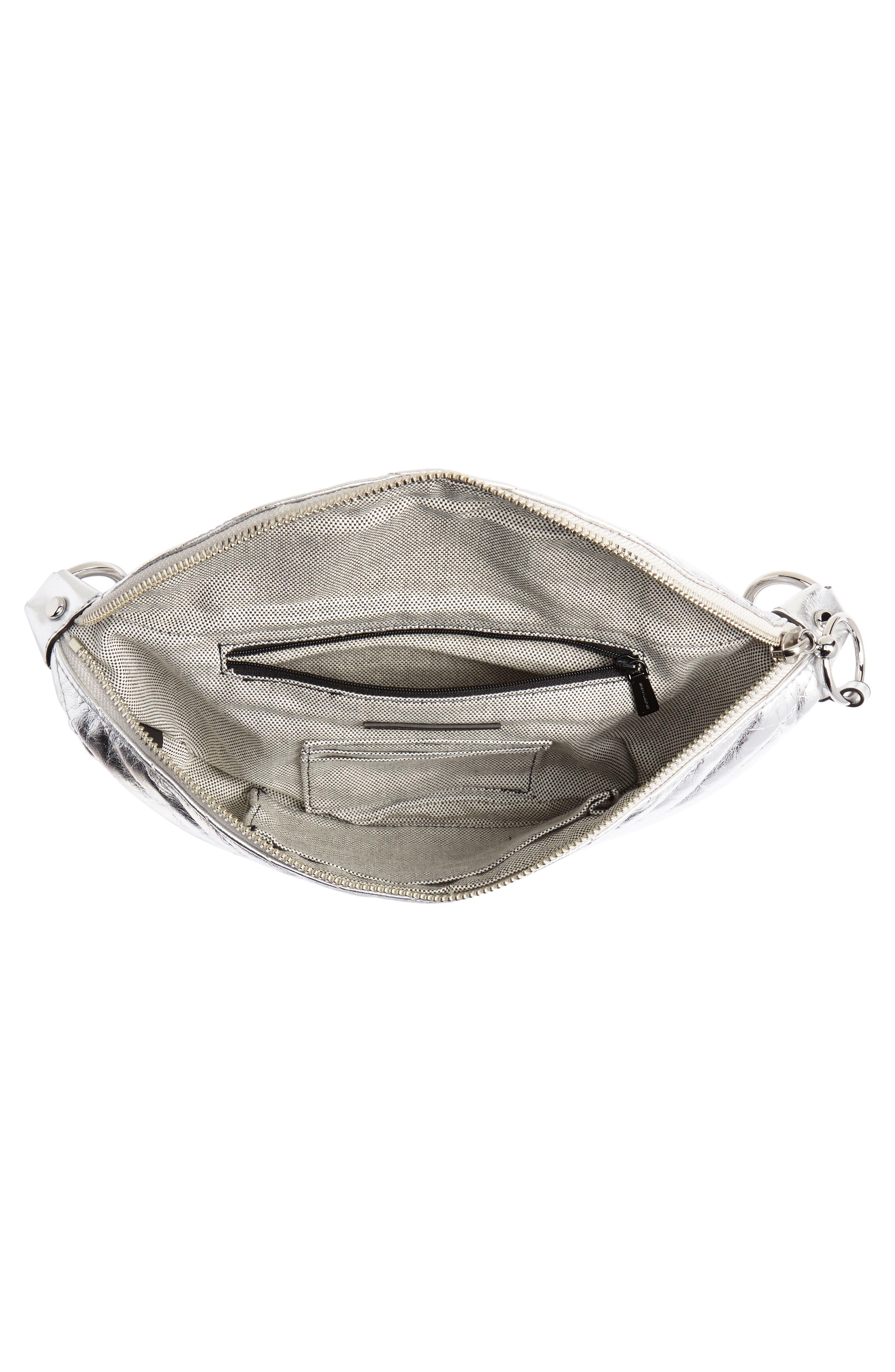 Edie Metallic Leather Belt Bag,                             Alternate thumbnail 5, color,                             SILVER