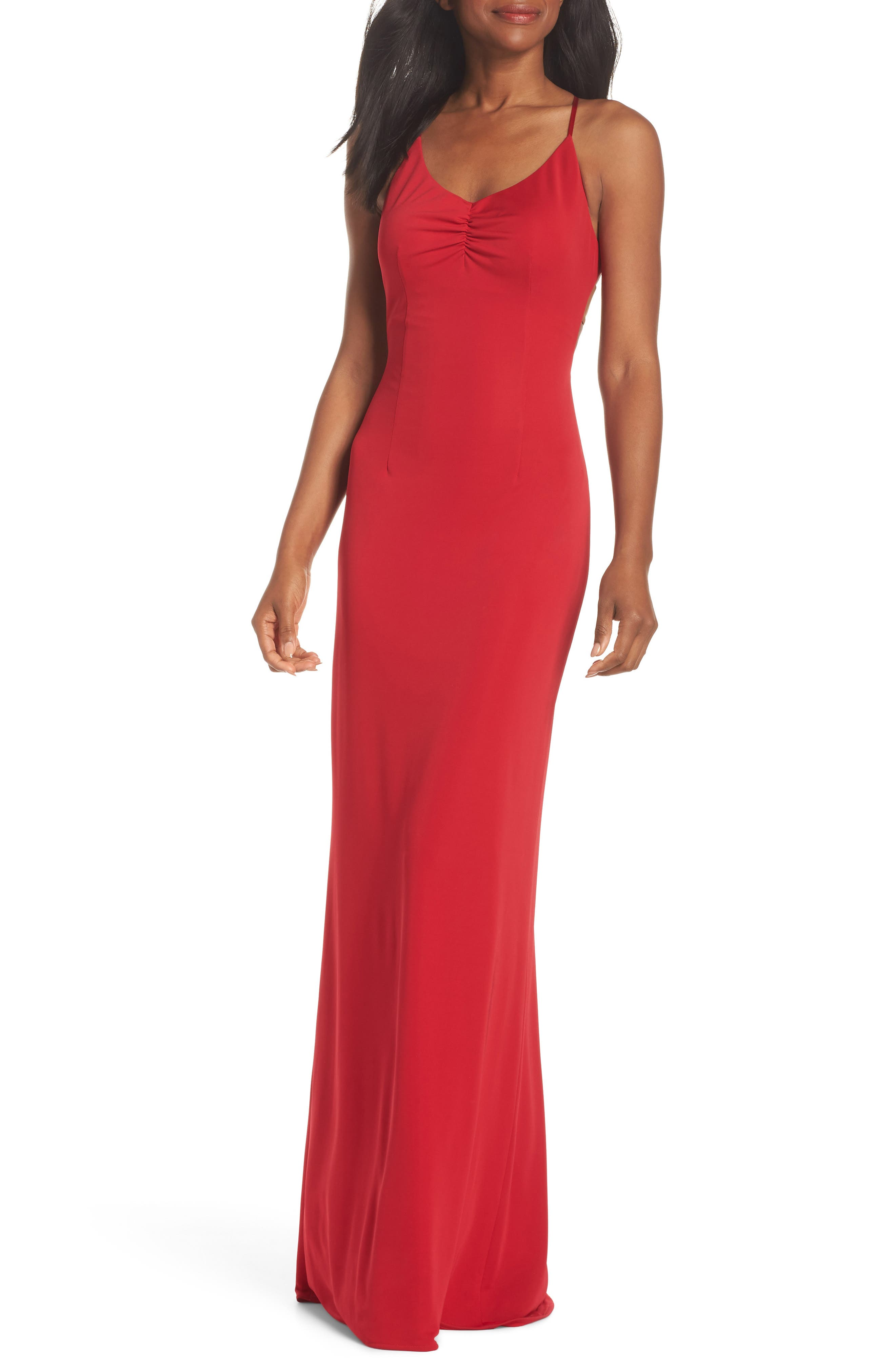 Donna Backless Jersey Dress,                             Main thumbnail 1, color,                             RED