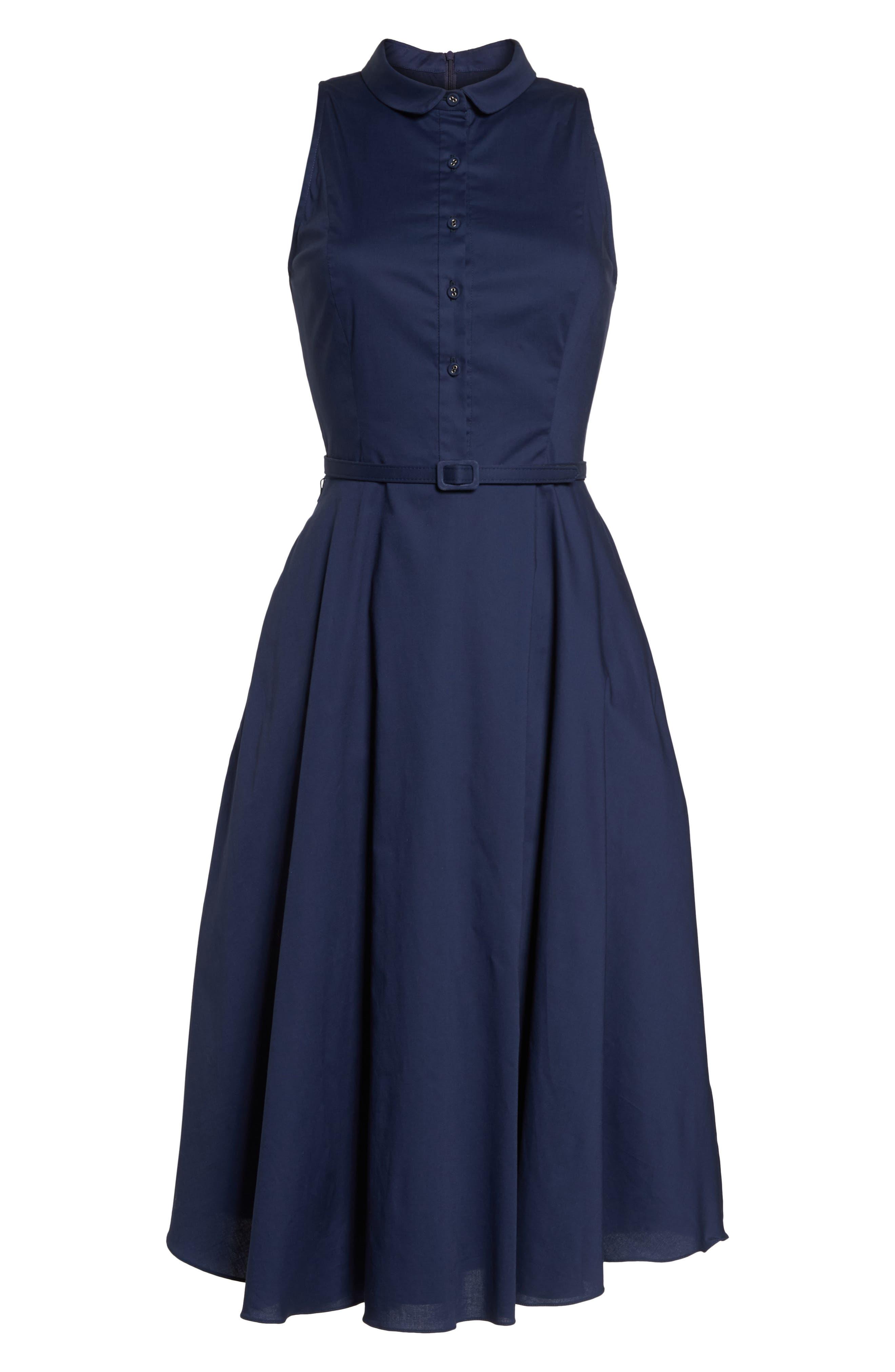 Rose Sleeveless Cotton Poplin Shirtdress,                             Alternate thumbnail 7, color,