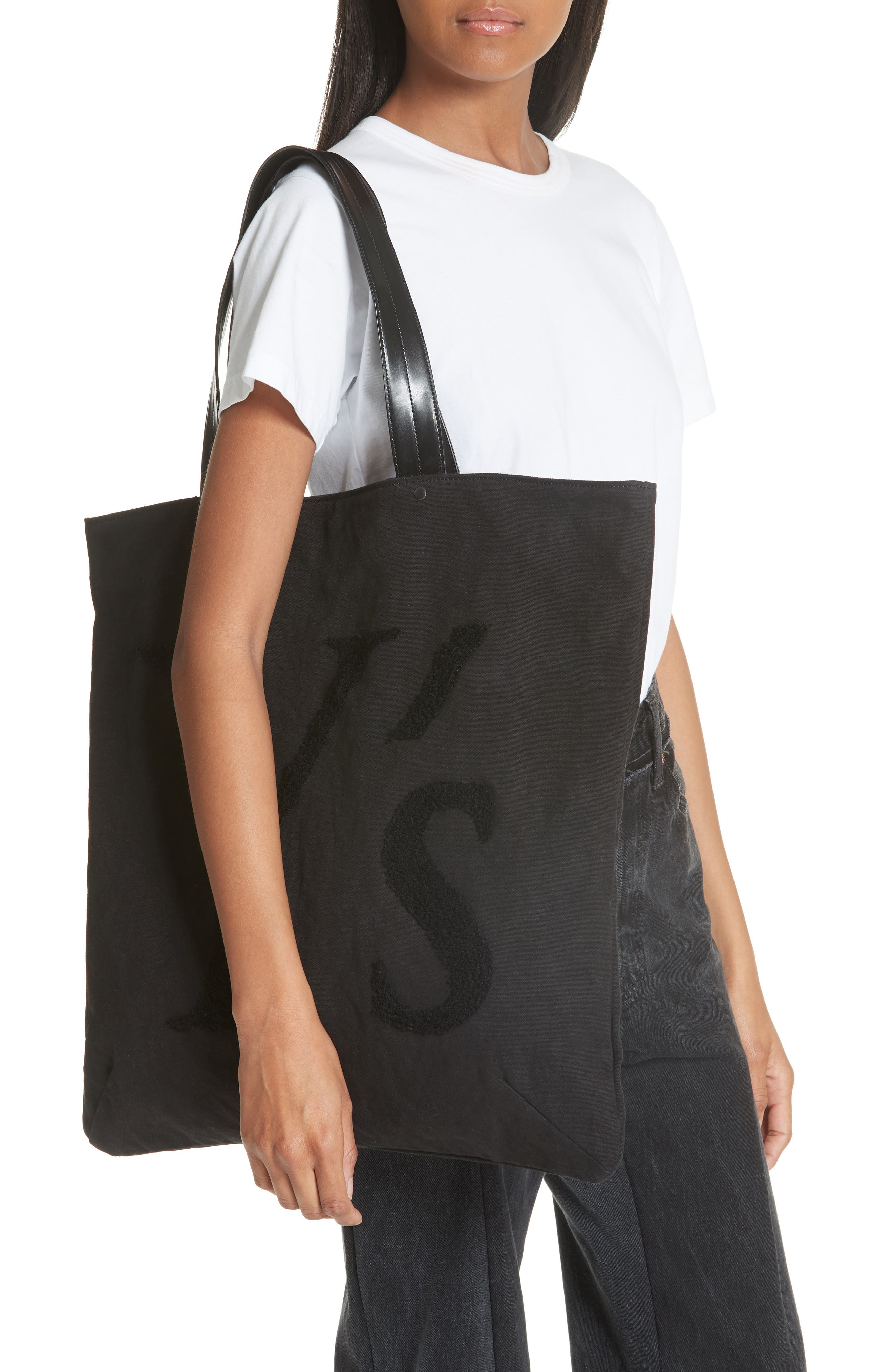 Ys by Yohji Yamamoto Embroidered Canvas Tote Bag,                             Alternate thumbnail 2, color,                             001