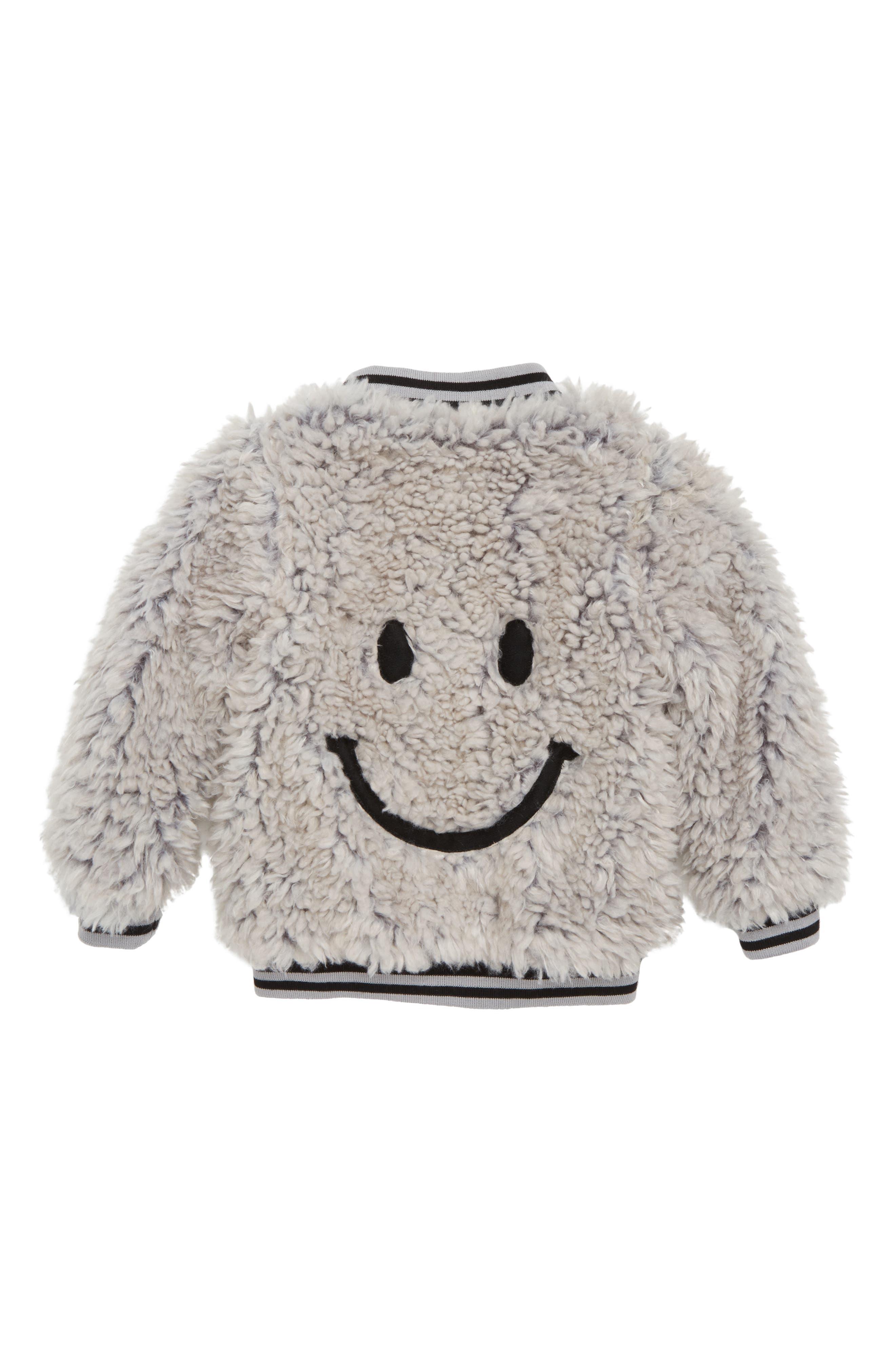 Happy Lil Faux Fur Varsity Jacket,                             Alternate thumbnail 2, color,                             050