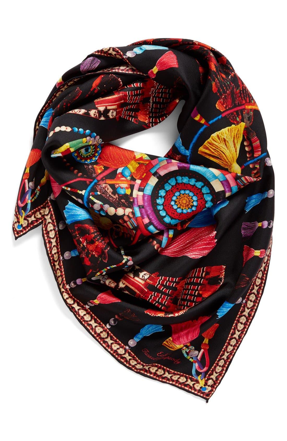 Tassel Rhapsody Silk Scarf,                         Main,                         color, 001