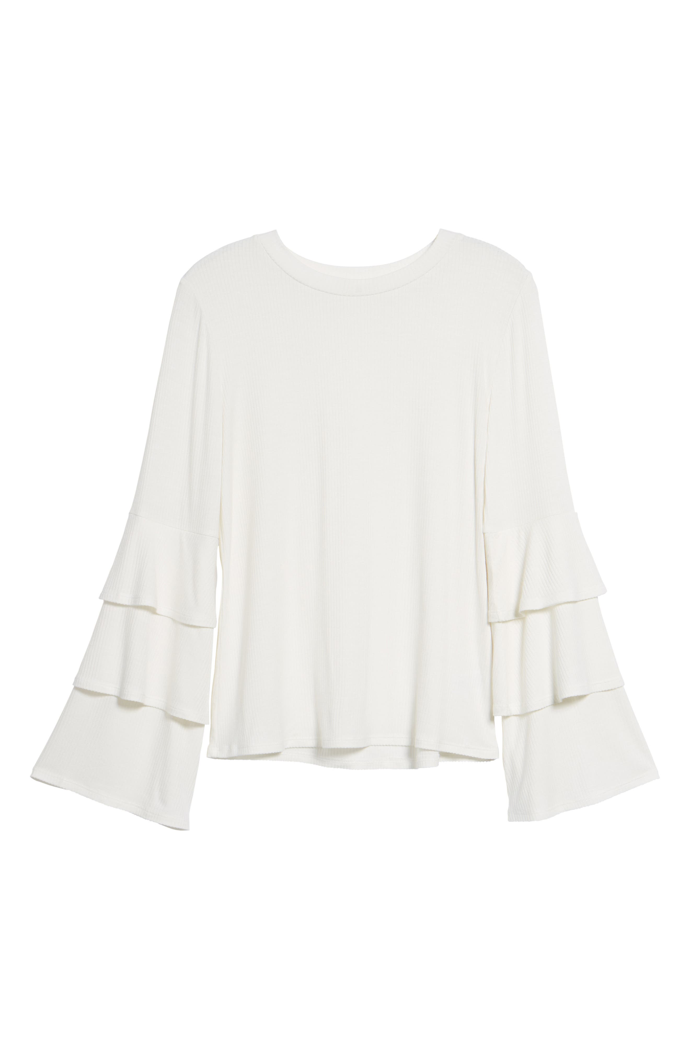 Ruffle Sleeve Ribbed Sweater,                             Alternate thumbnail 24, color,