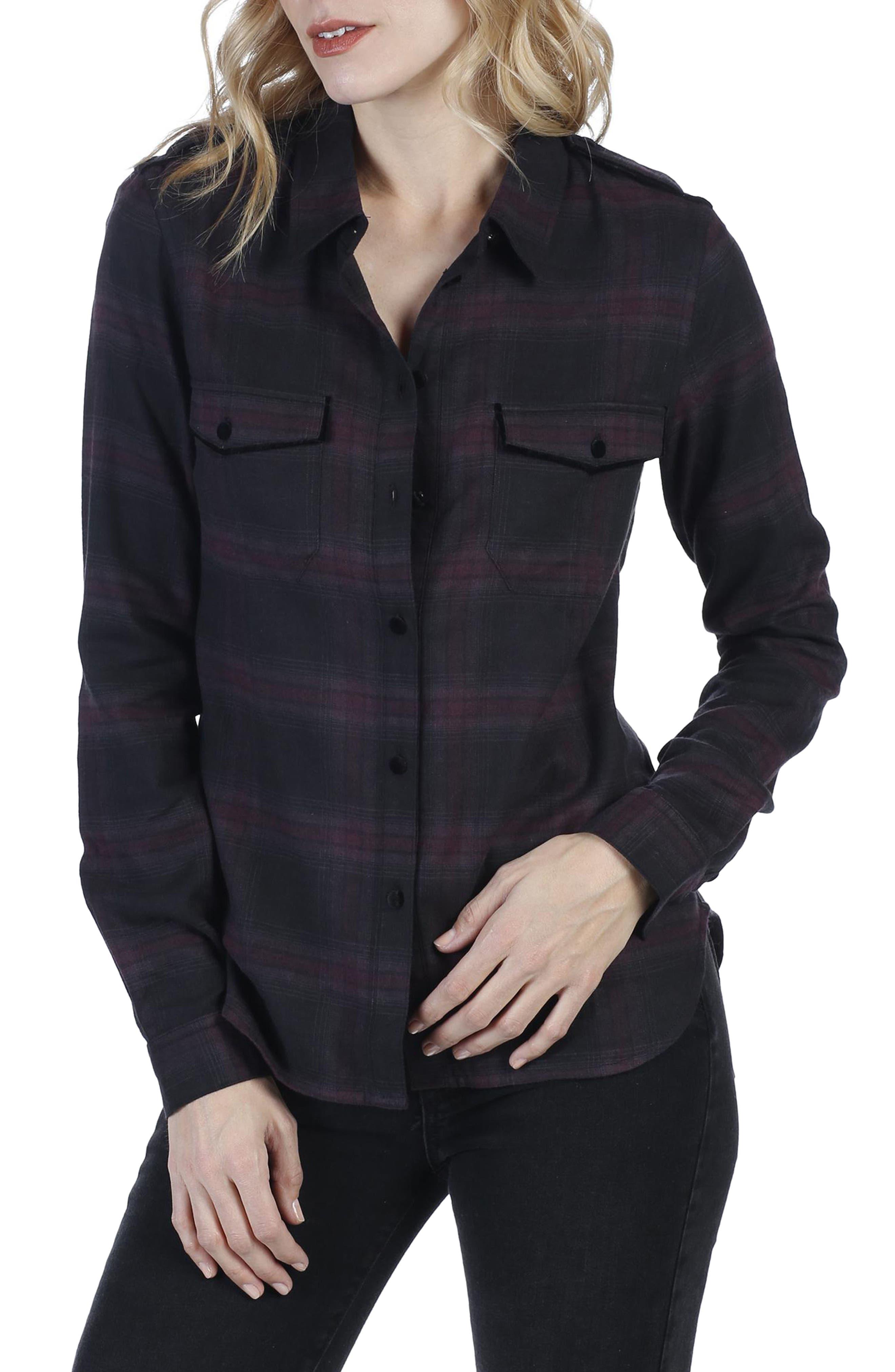 Adilene Plaid Shirt,                             Main thumbnail 1, color,                             001