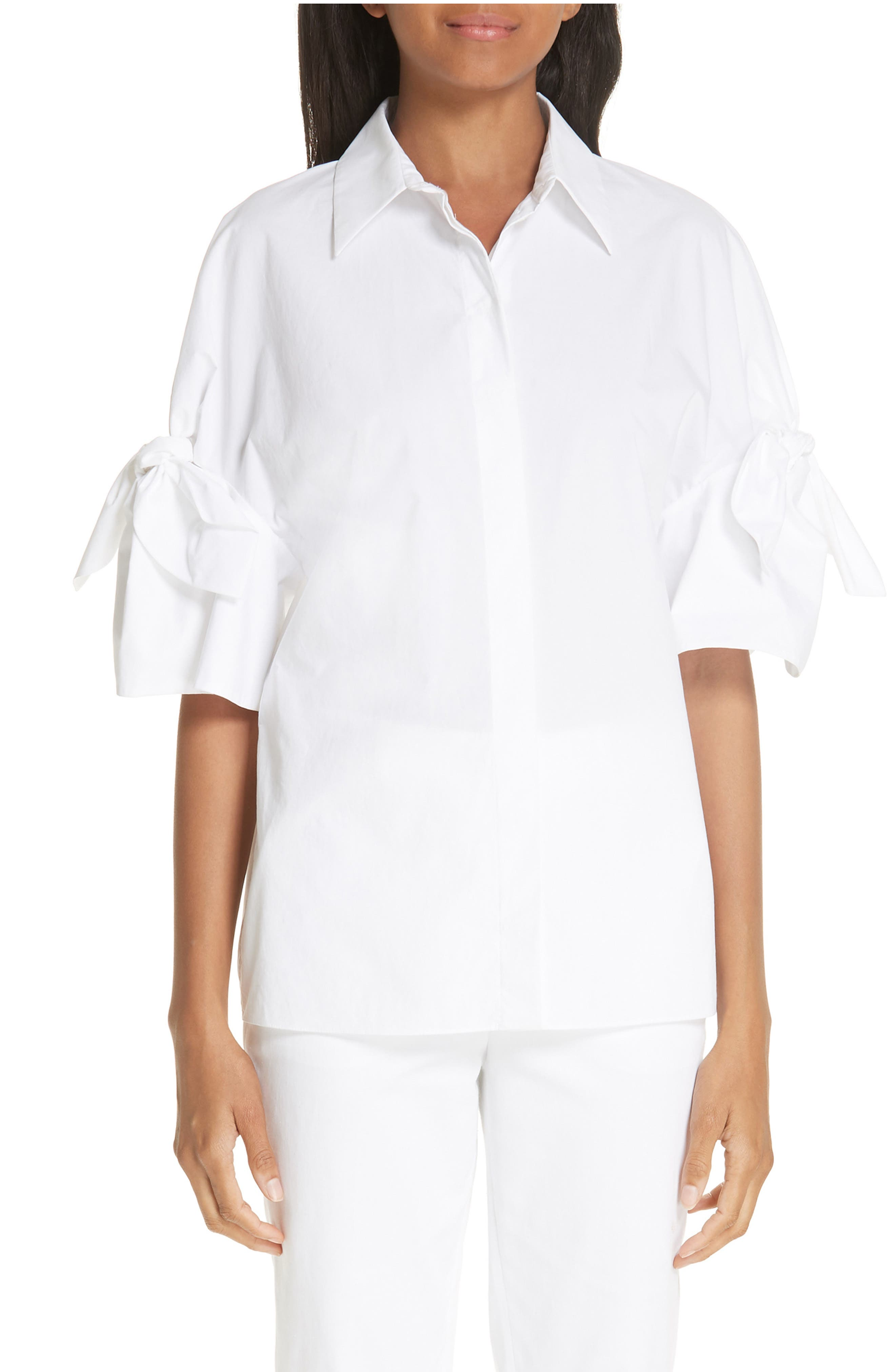 Tie Sleeve Poplin Shirt,                         Main,                         color, OPTIC WHITE