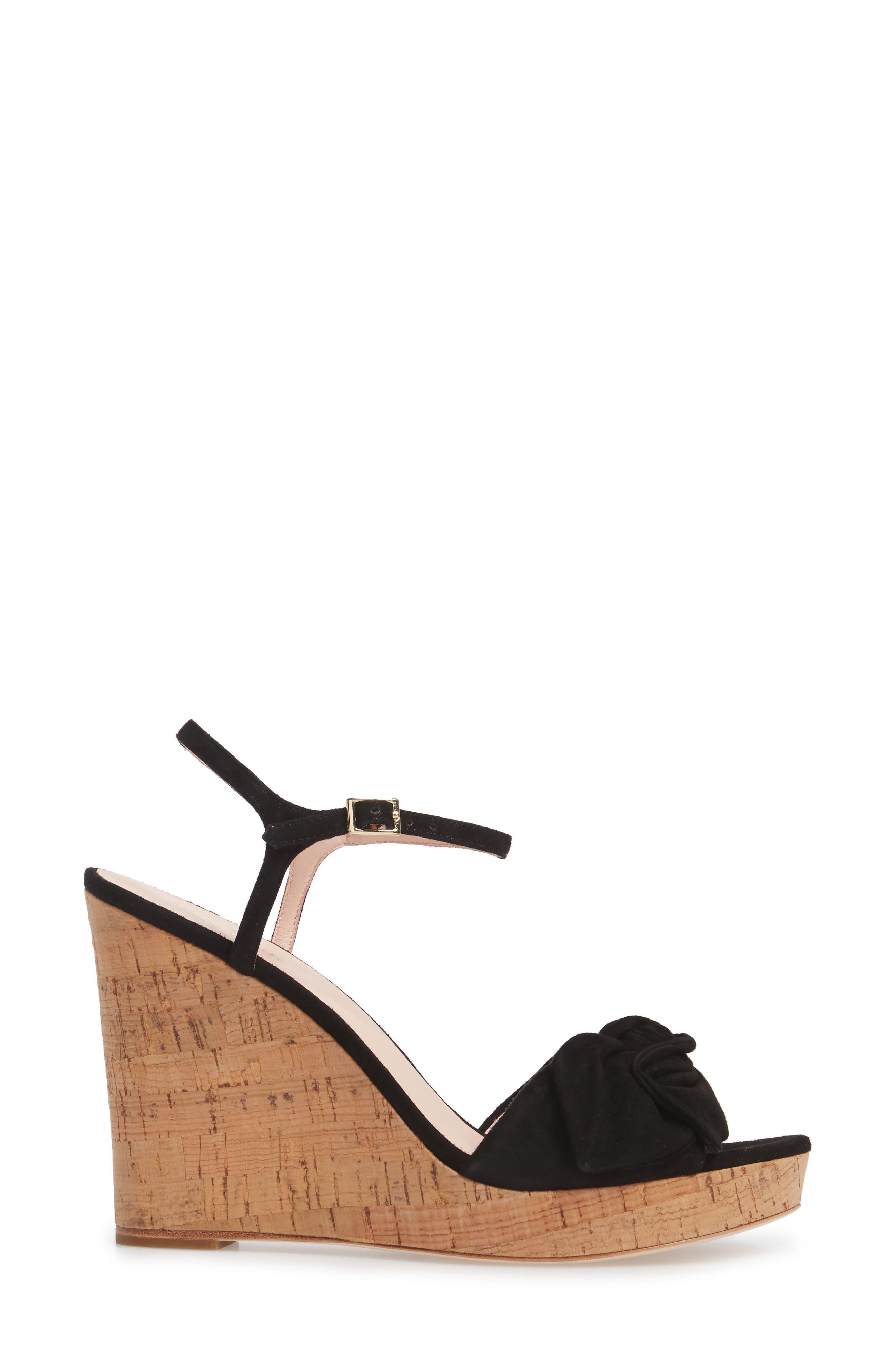janae knot platform wedge sandal,                             Alternate thumbnail 3, color,                             001