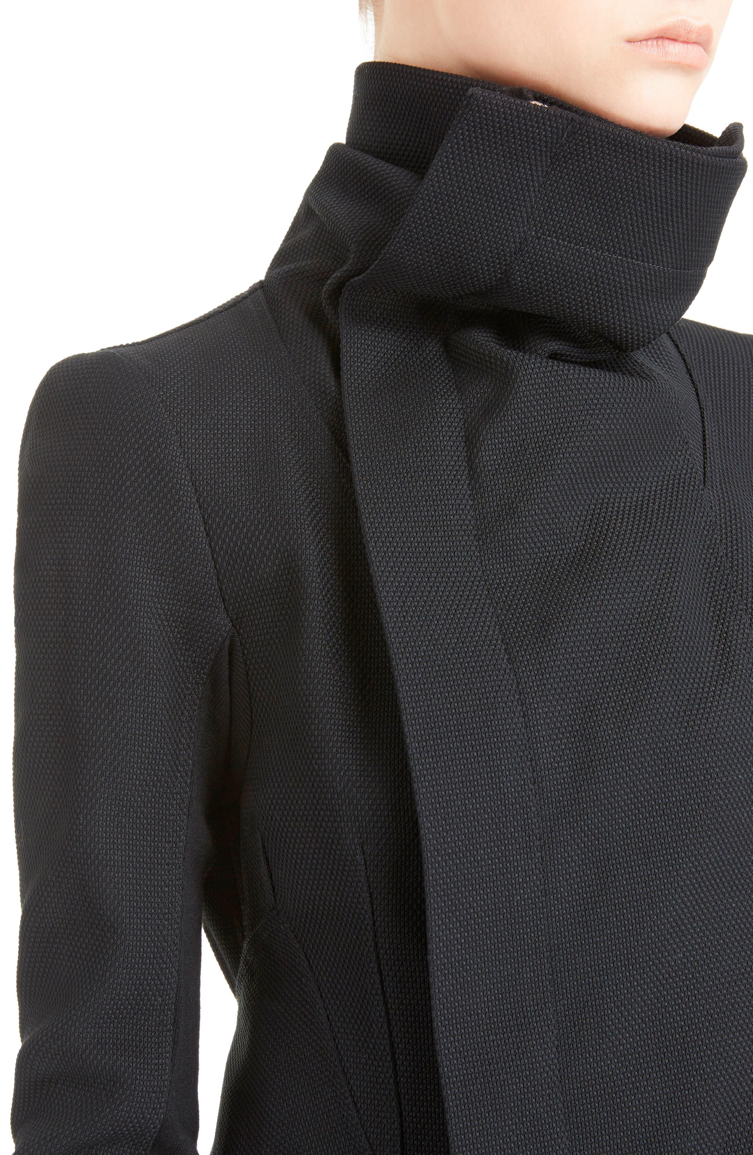 Stretch Cotton Biker Jacket,                             Alternate thumbnail 4, color,                             BLACK