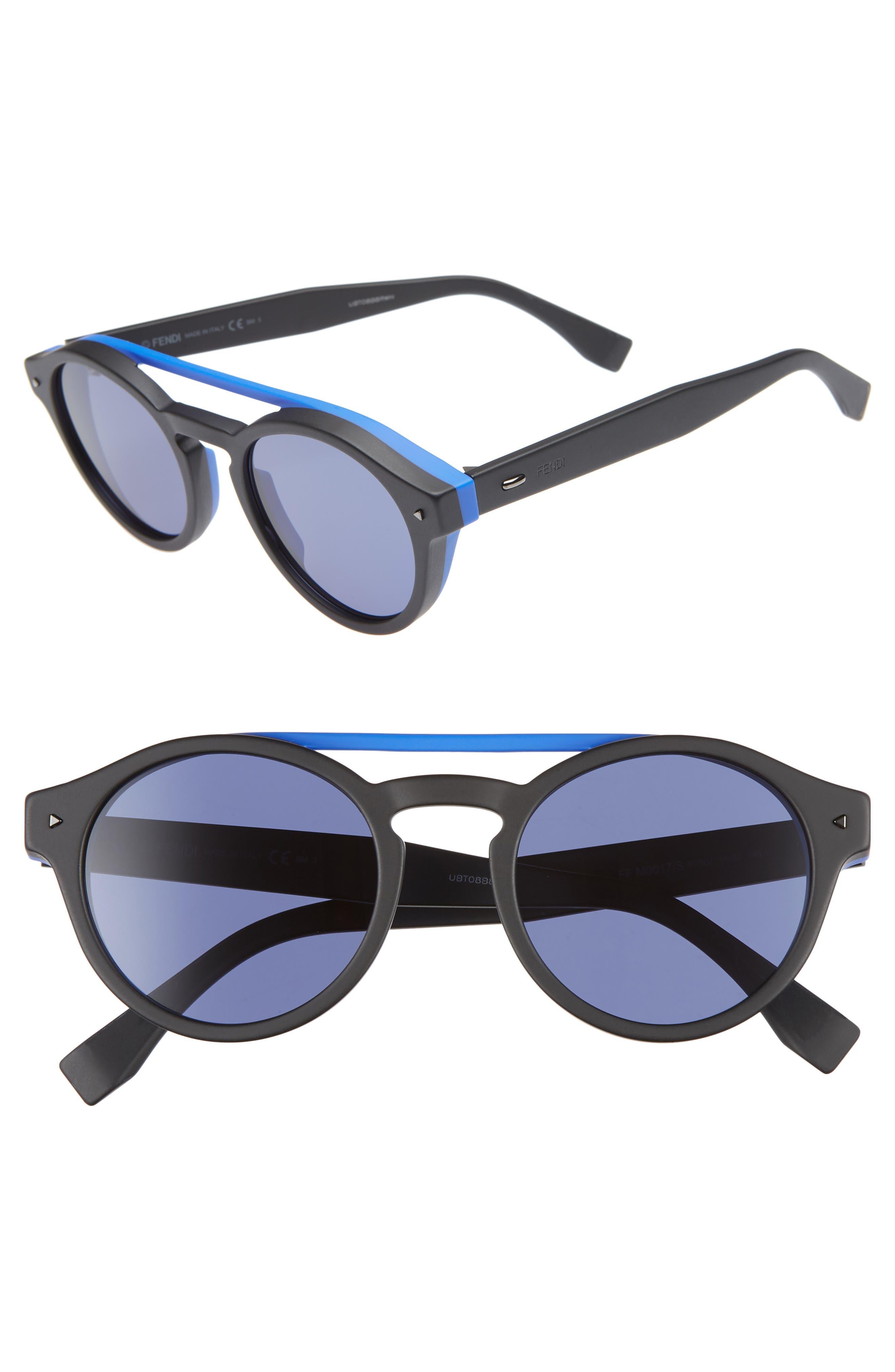 51mm Round Sunglasses,                         Main,                         color, BLACK